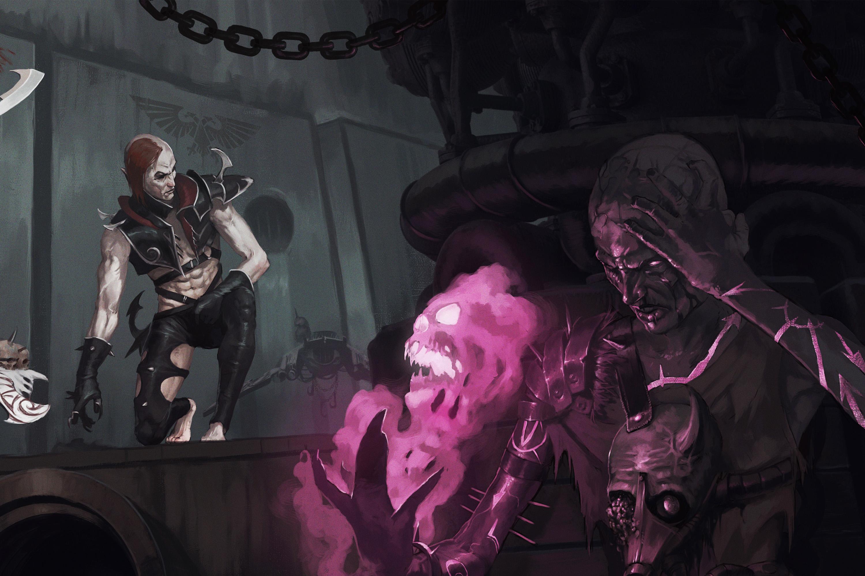 A Chaos psyker prepares to attack two dark eldar.