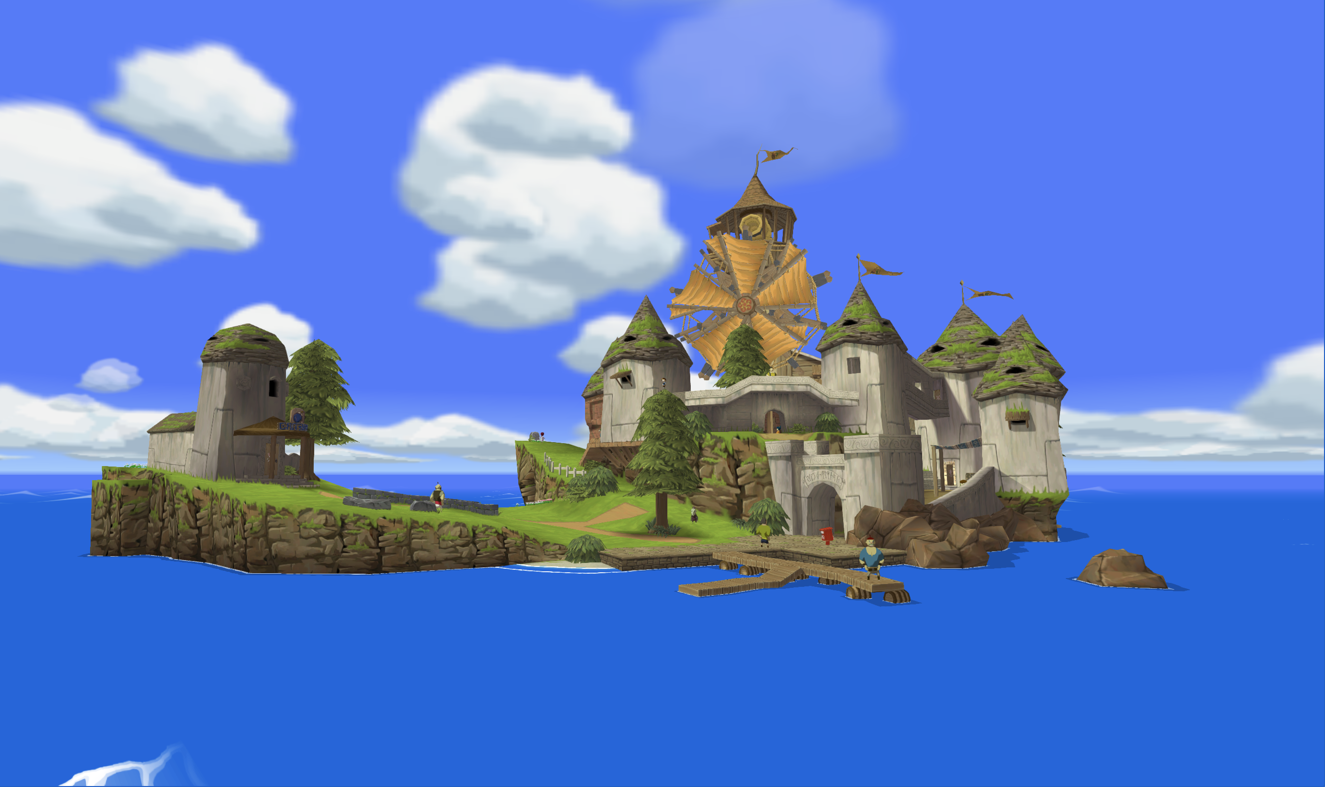 a straight on shot of windfall island from the legend of Zelda: wind waker