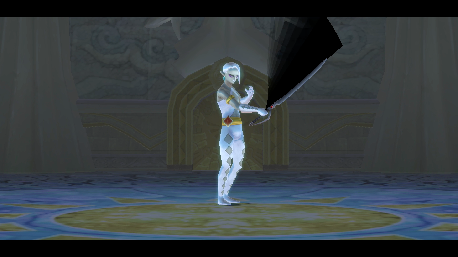 A boss battle with Demon Lord Ghirahim from The Legend of Zelda: Skyward Sword