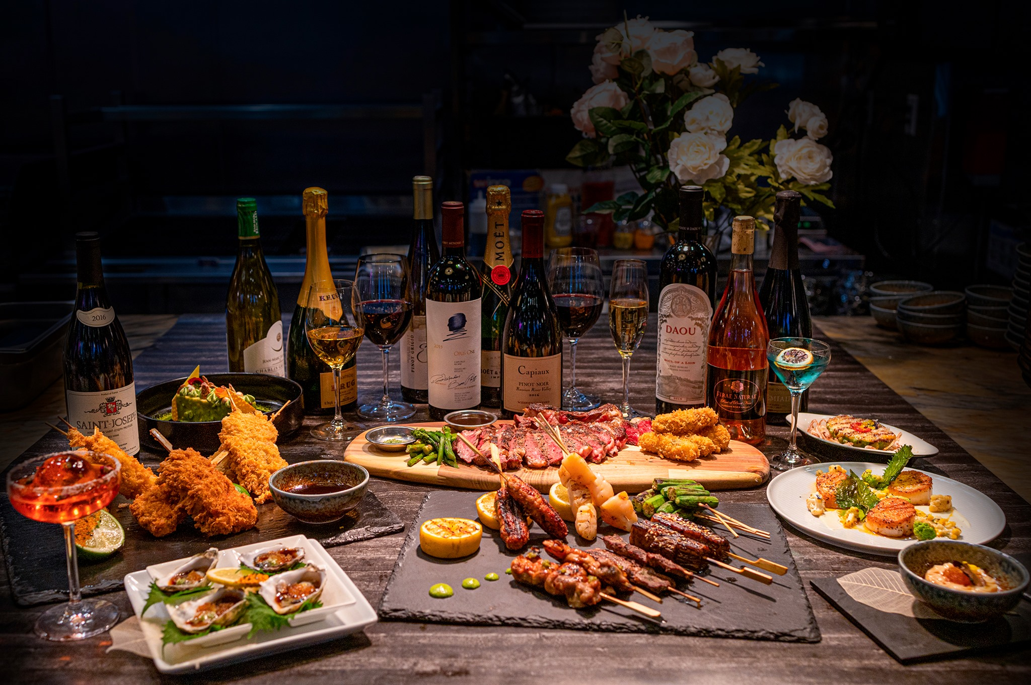 A display of the Japanese fusion tapas dishes and wine selection, coming soon to Osaka Sunset.