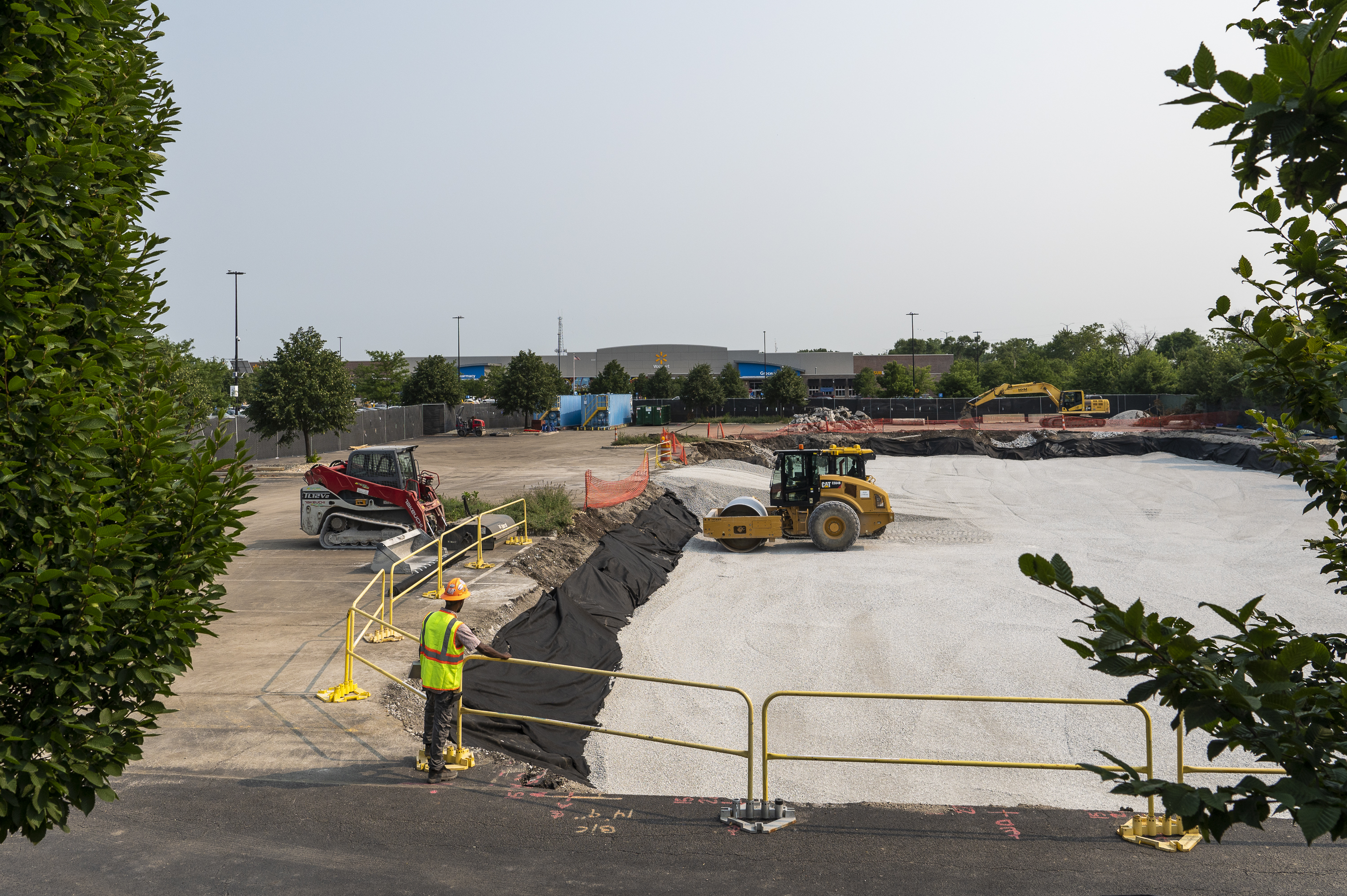 The site where a Walmart Academy is being built, in the parking lot of the Walmart at 8331 S. Stewart Ave in the Chatham community. The store is in the background. The Academy will offer job training services; plans call for it to be open in the fall of 2021.