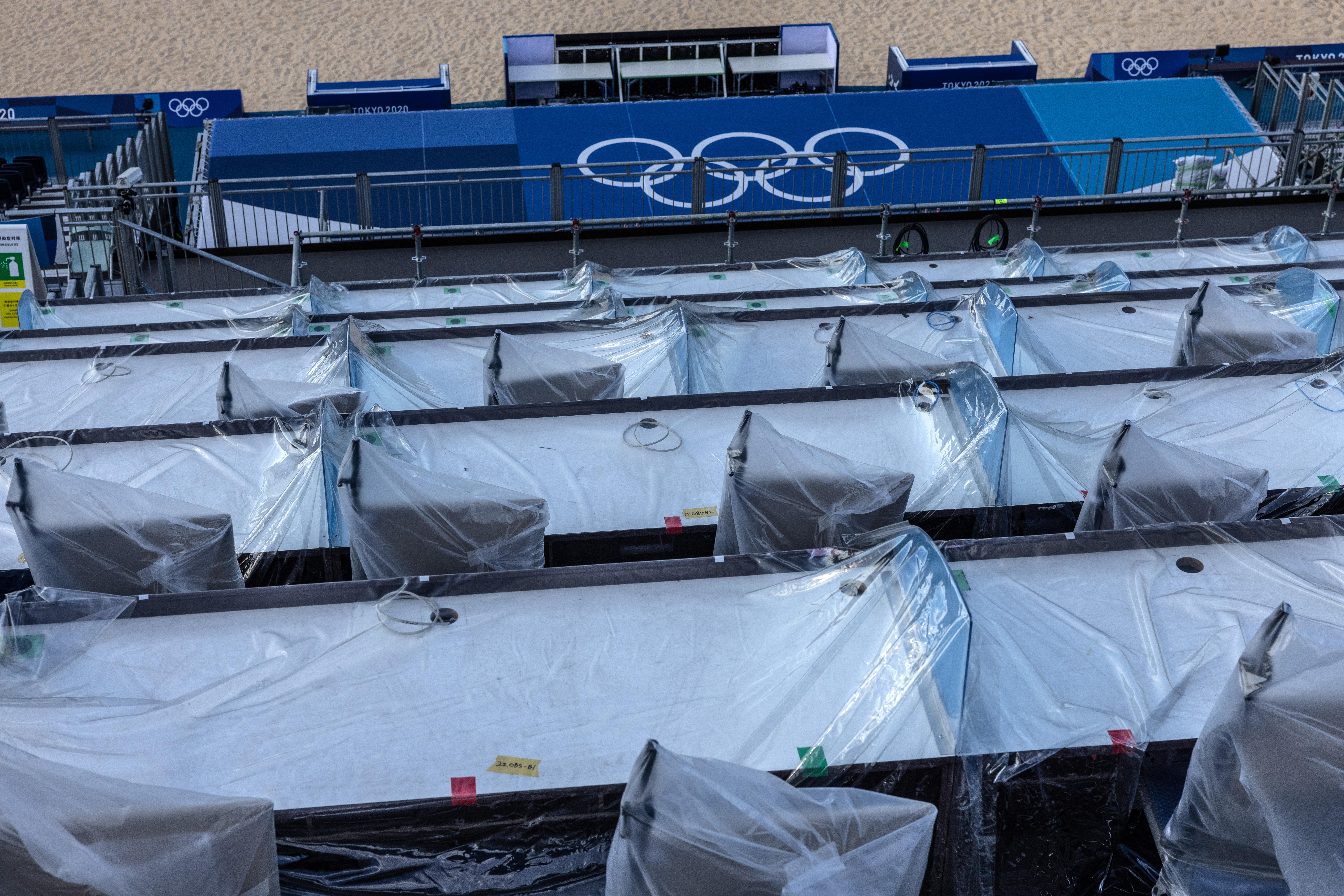Final Preparations Made At Tokyo Olympics Beach Volleyball Stadium
