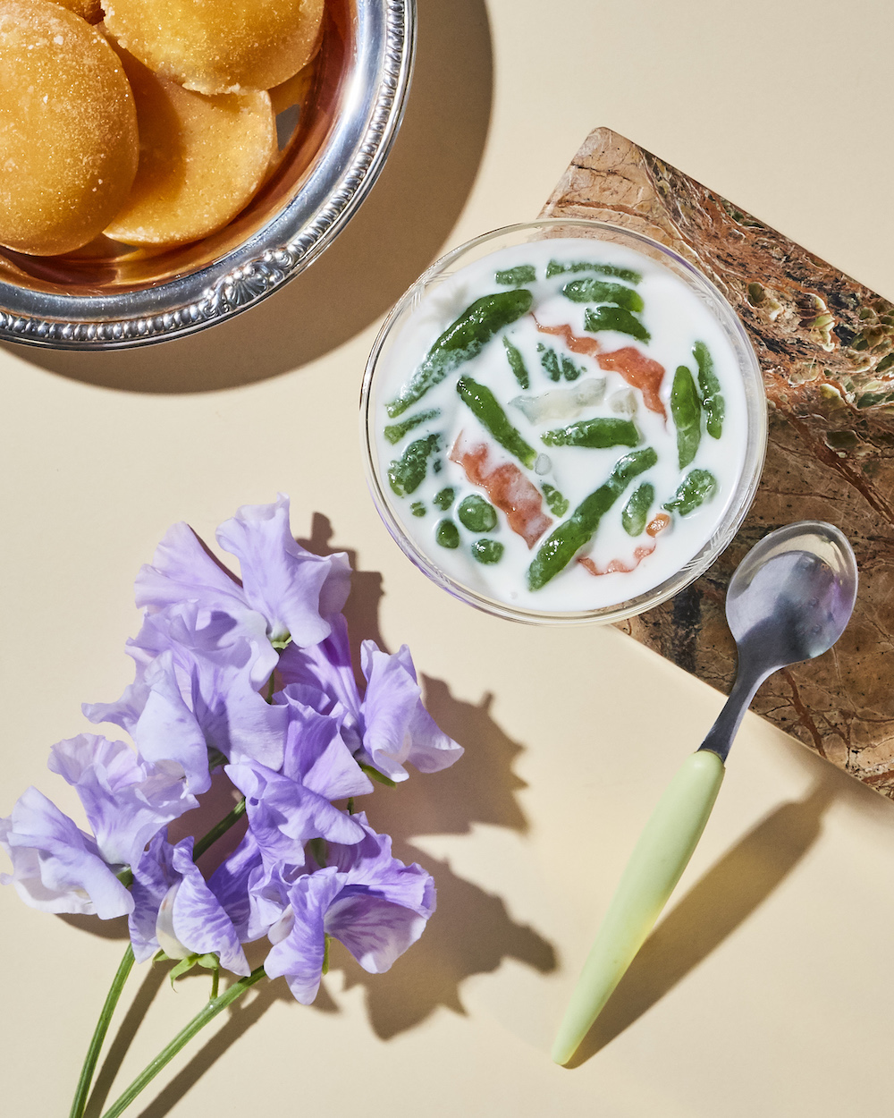 sweet soup with pandan jellies