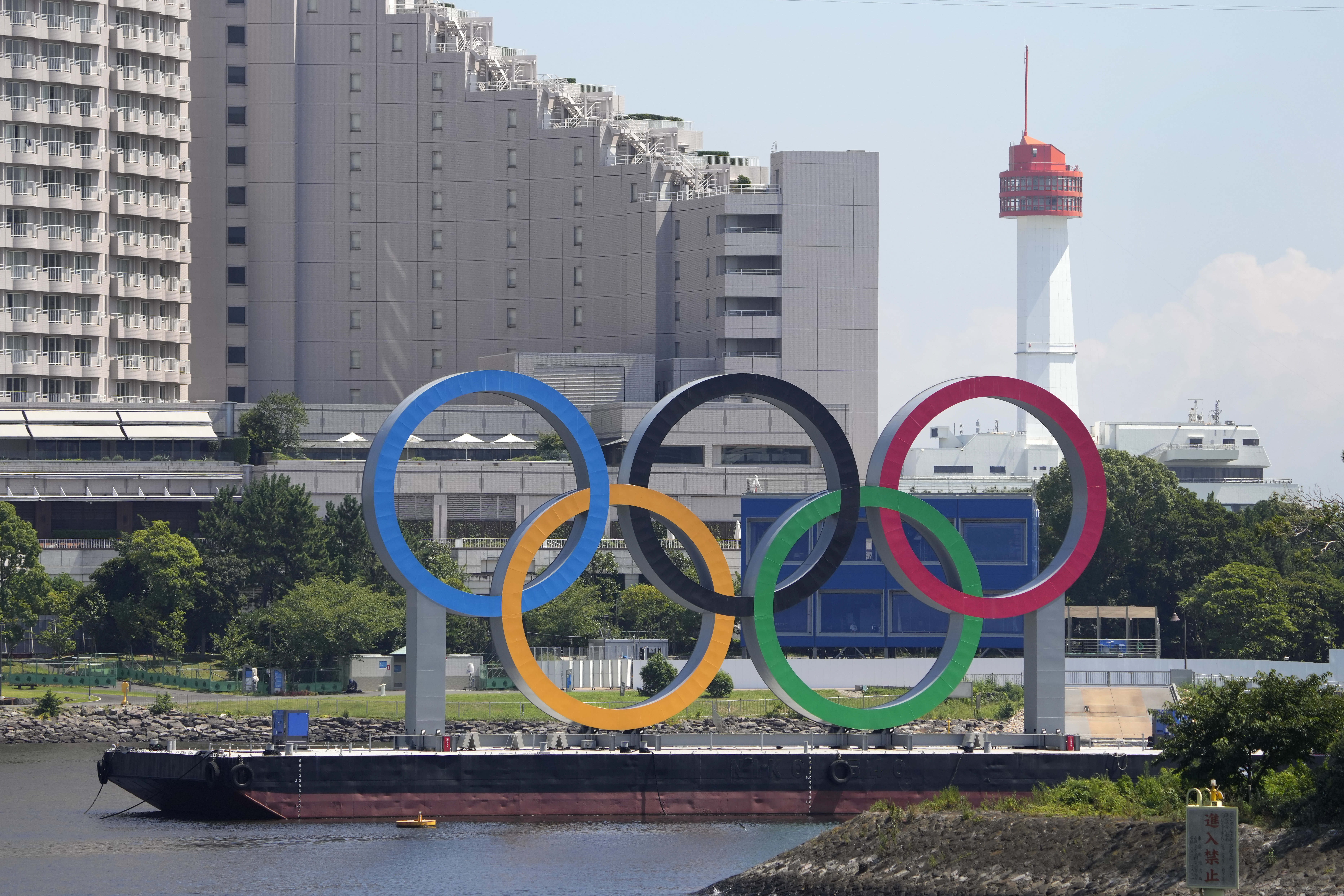 The Olympic rings float on a barge in Tokyo ahead of the Summer Olympics.