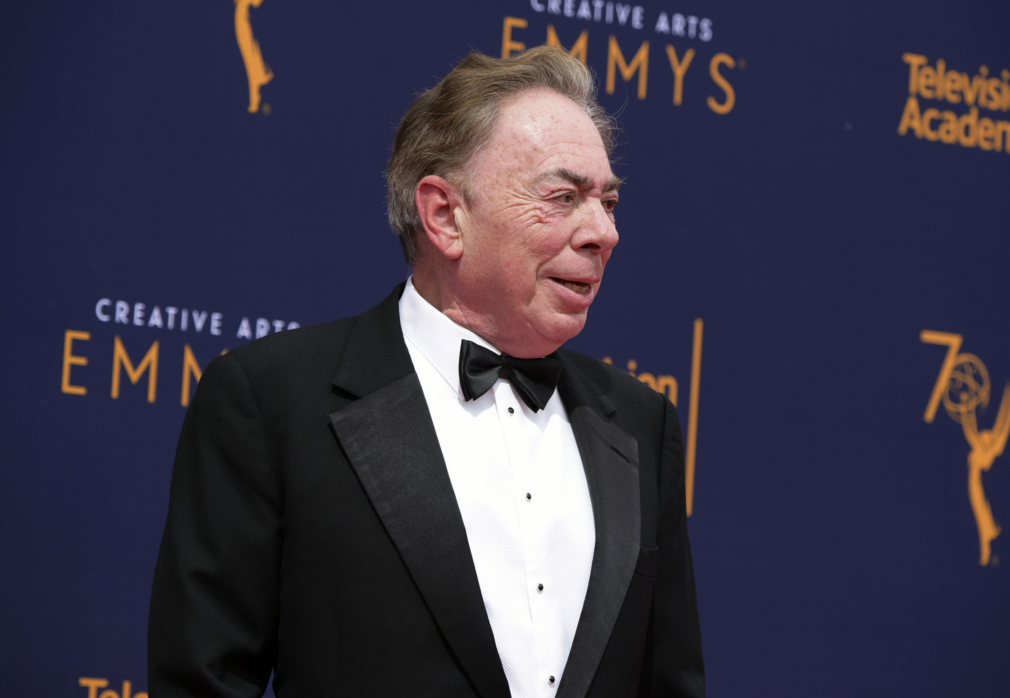 Andrew Lloyd Webber arrives at night two of the Creative Arts Emmy Awards at The Microsoft Theater on Sunday, Sept. 9, 2018, in Los Angeles.
