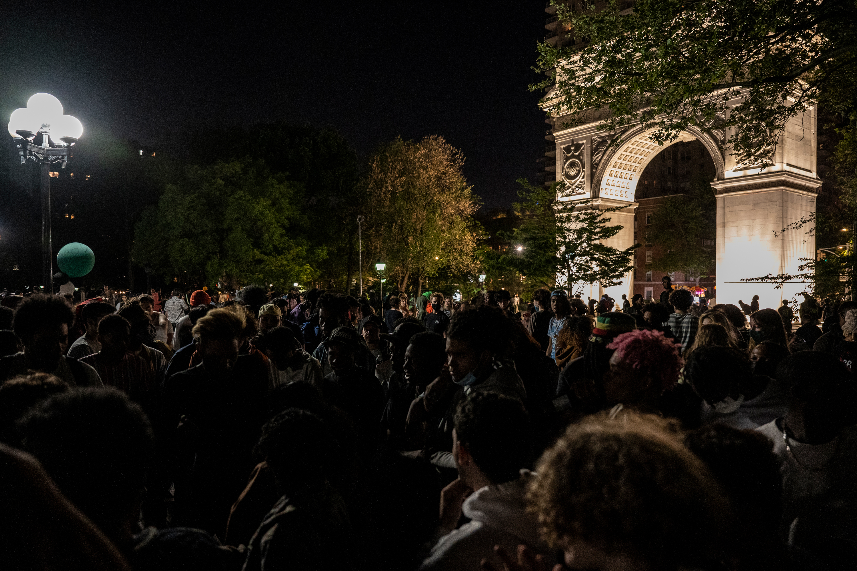 Young people packed into Washington Square Park as the city began to reopen, May 14, 2021.