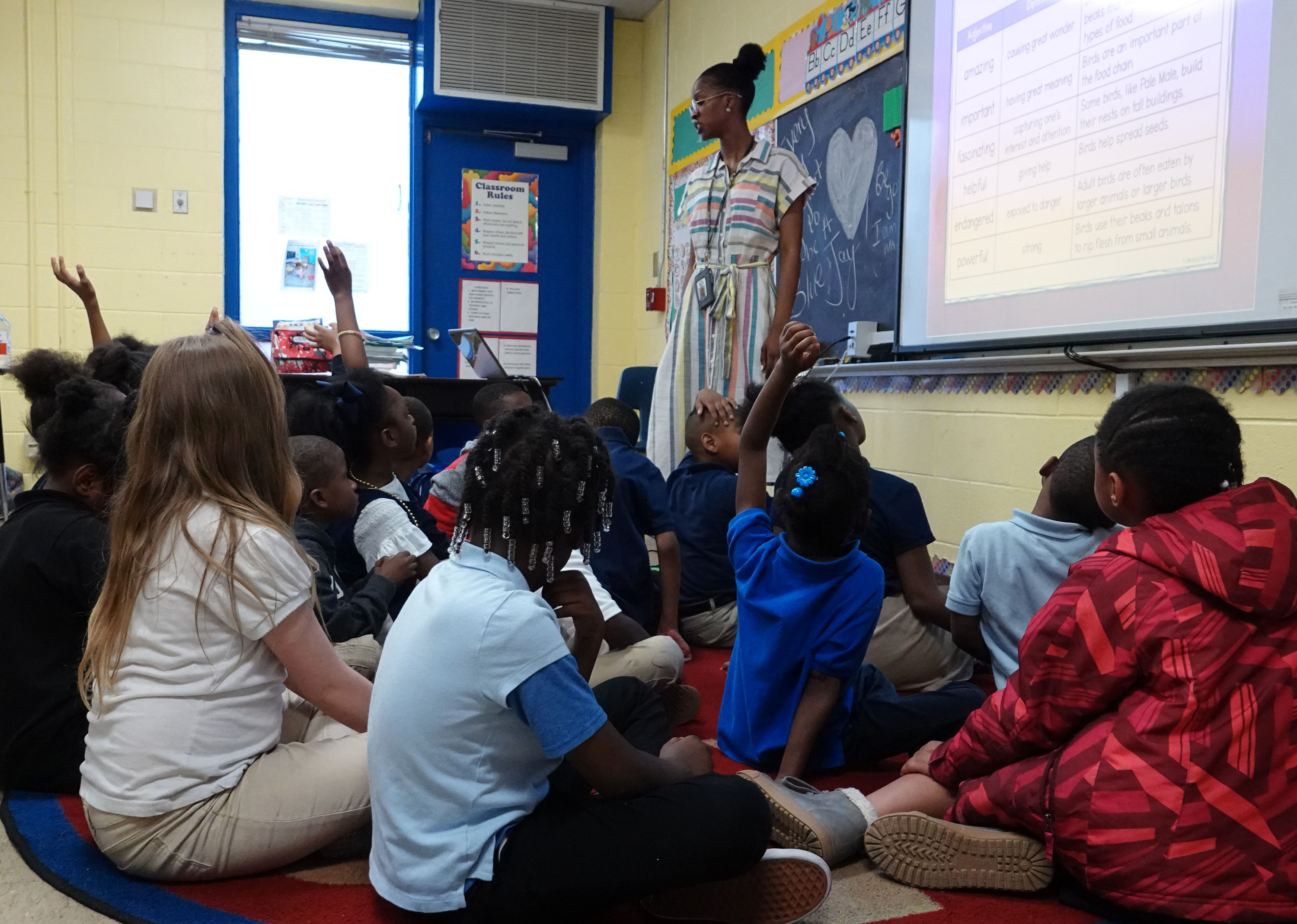 Students raise their hands in a classroom at Gardenview Elementary School in Memphis in this file photo from May 2019.