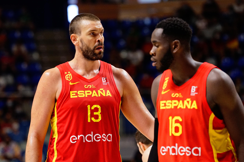 Marc Gasol (L) and Usman Garuba (R) of Spain seen in action...