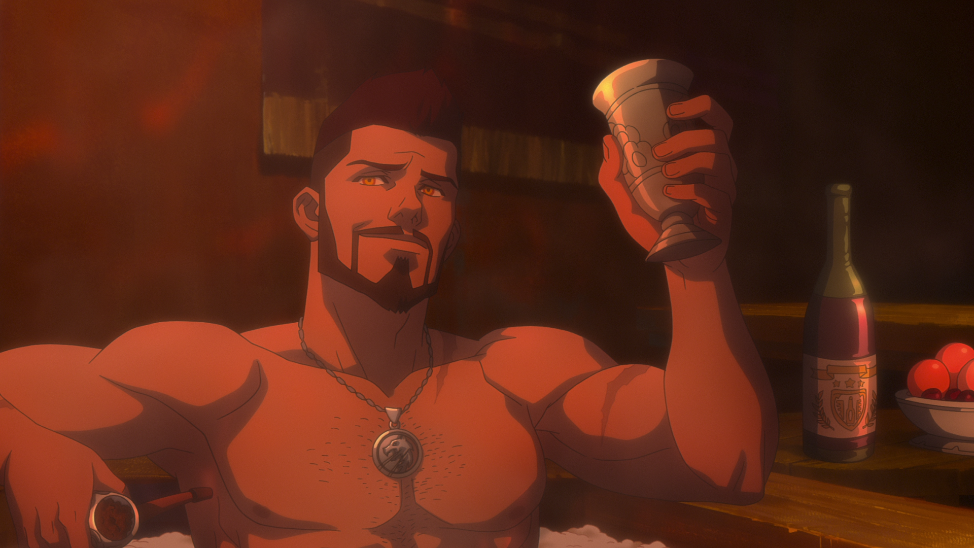 Vesemir in the bath from Netflix's The Witcher: Nightmare of the Wolf anime movie