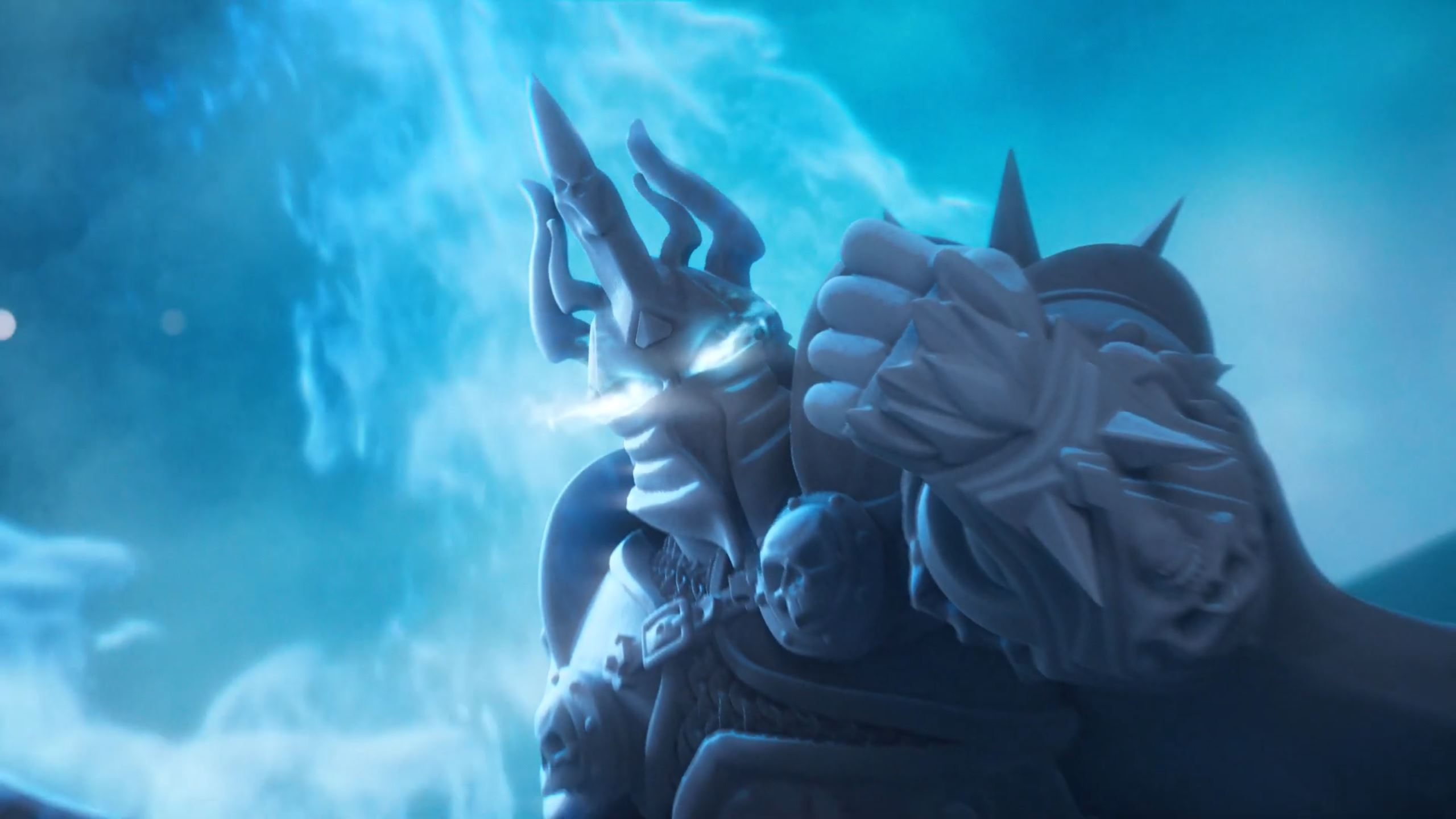 A close up of a render of a gray plastic Lich King miniature, overlaid with digital effect.