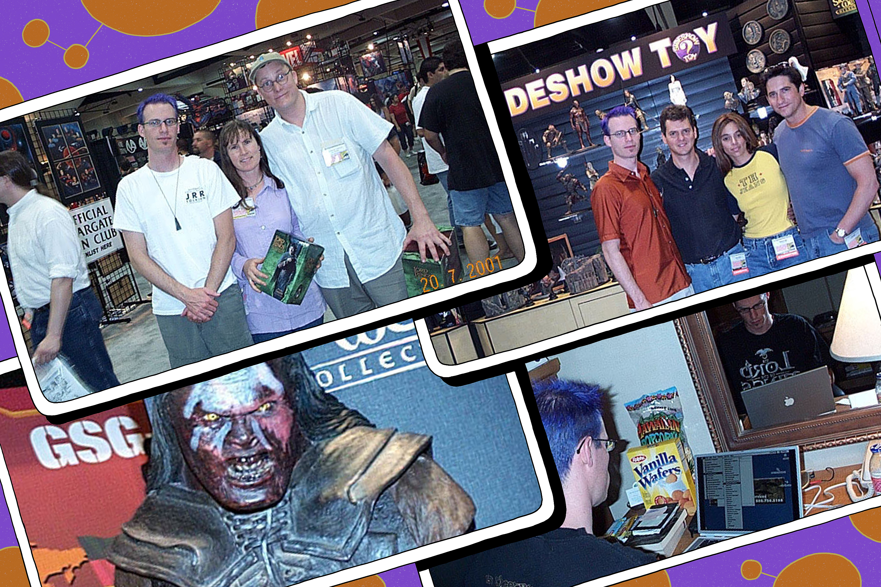 Comic grid featuring four images from Comic-Con 2001