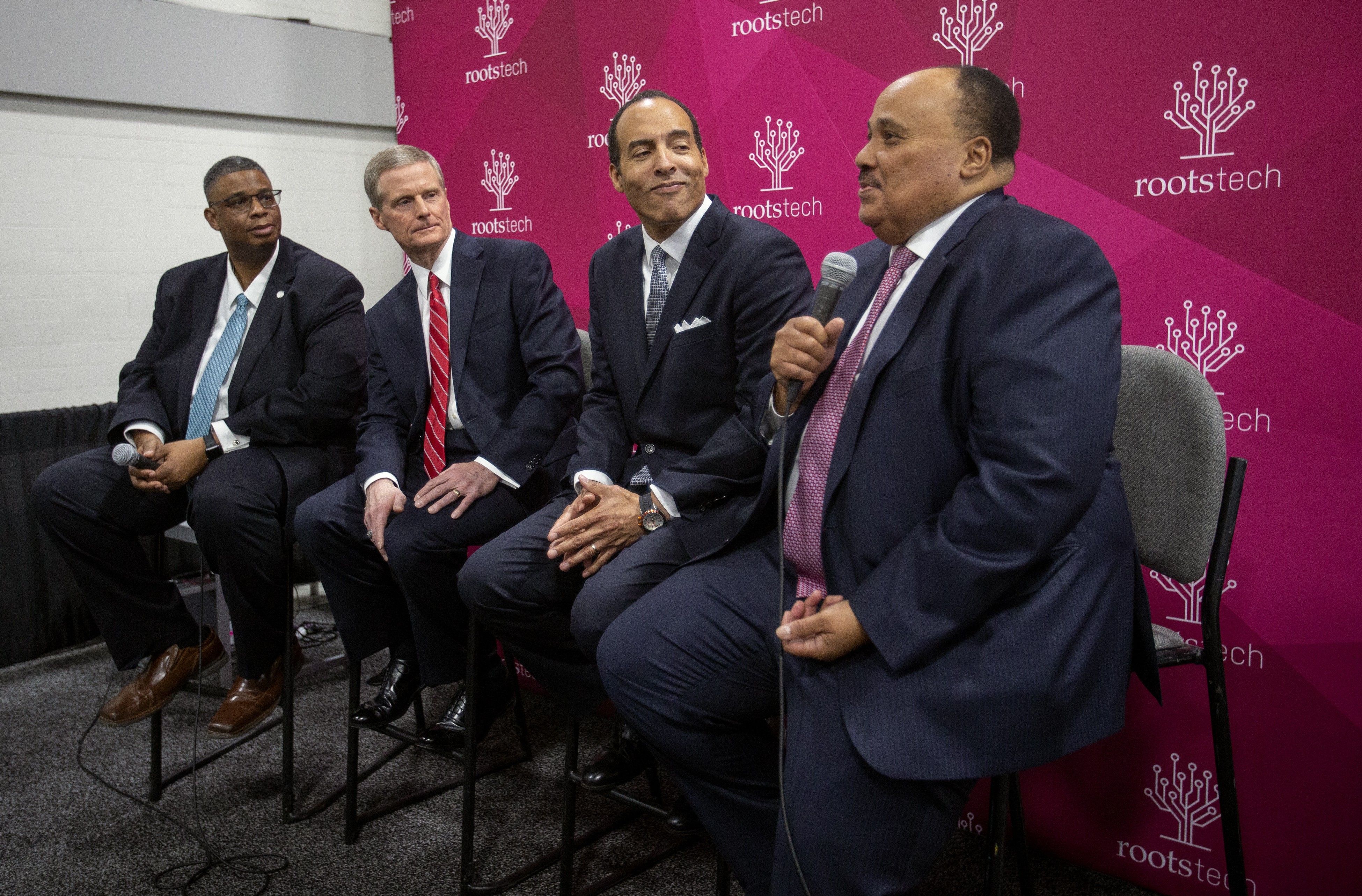 Martin Luther King III, son of the Rev. Martin Luther King Jr., speaks at a RootsTech press conference.