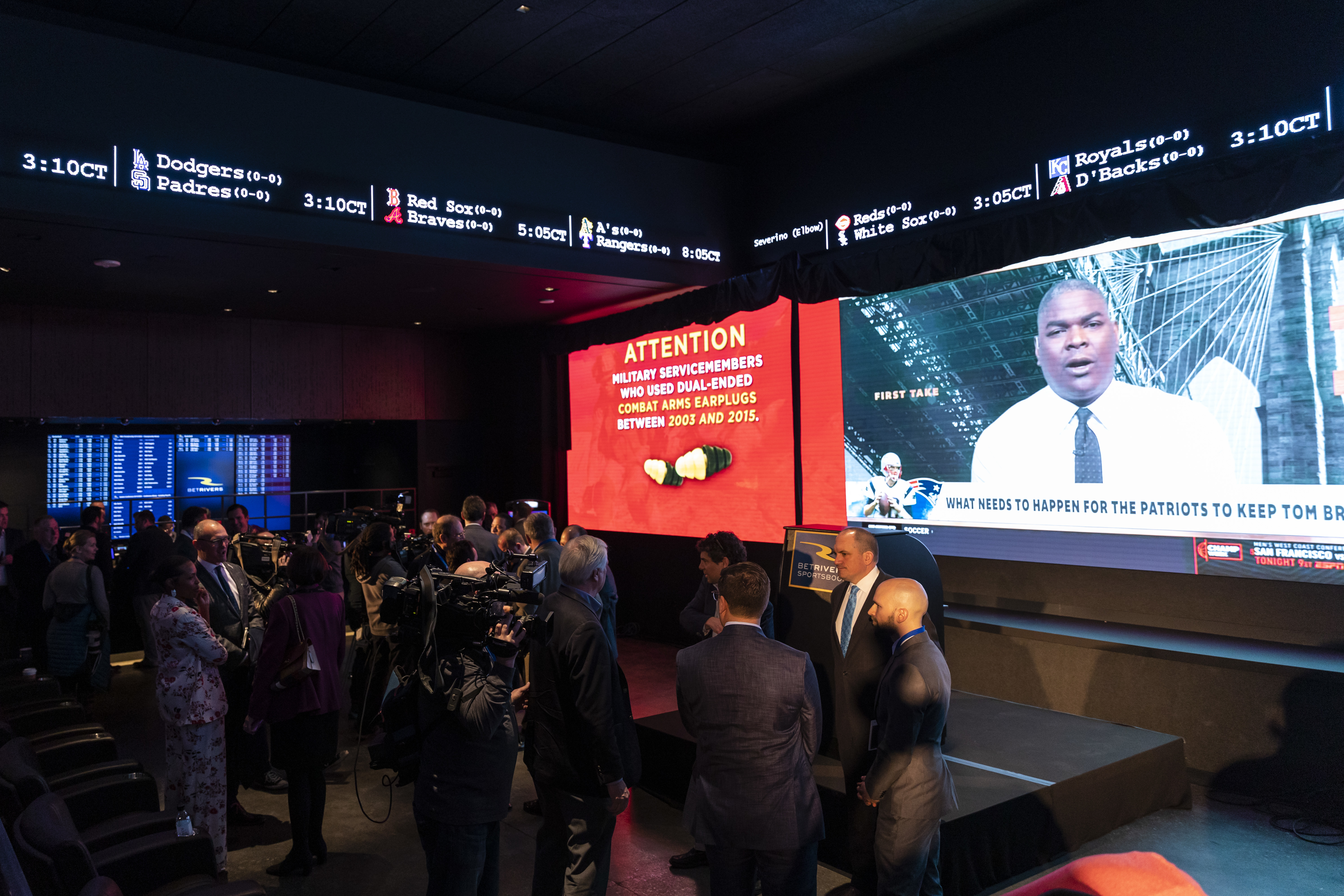The BetRivers Sportsbook, the first brick-and-mortar sportsbook approved by the Illinois Gaming Board, pictured at its March 2020 opening in Des Plaines. Illinoisans have bet $1.4 billion since then.