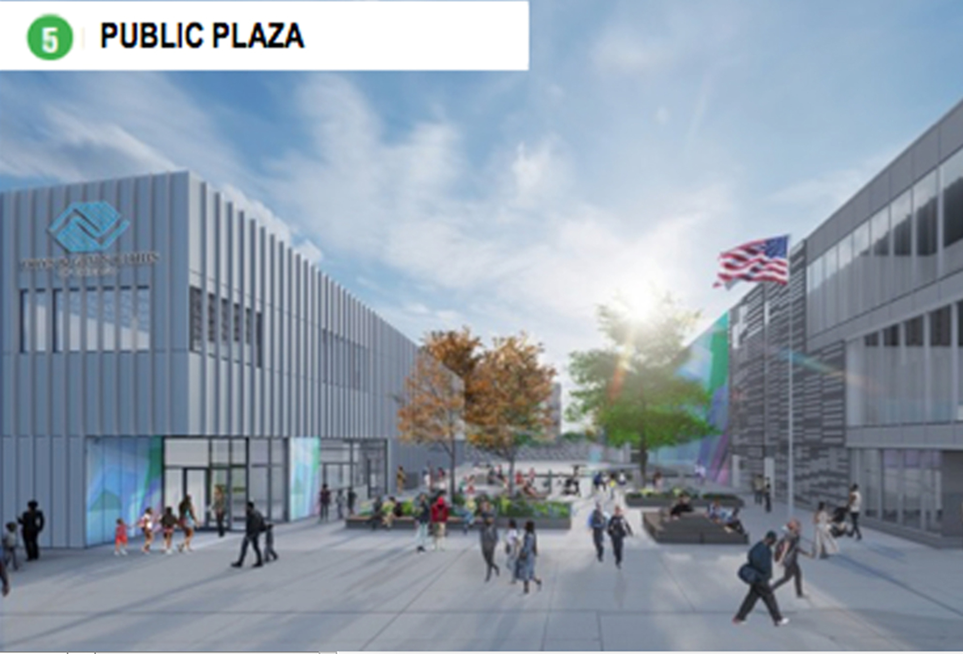 An architect's rendering shows a Boys & Girls Club (left) next to the planned training facility for Chicago police officers and firefighters (right) in West Garfield Park.