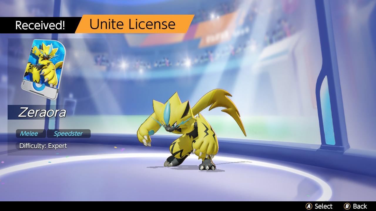 an image of Zeraora in Pokemon unite