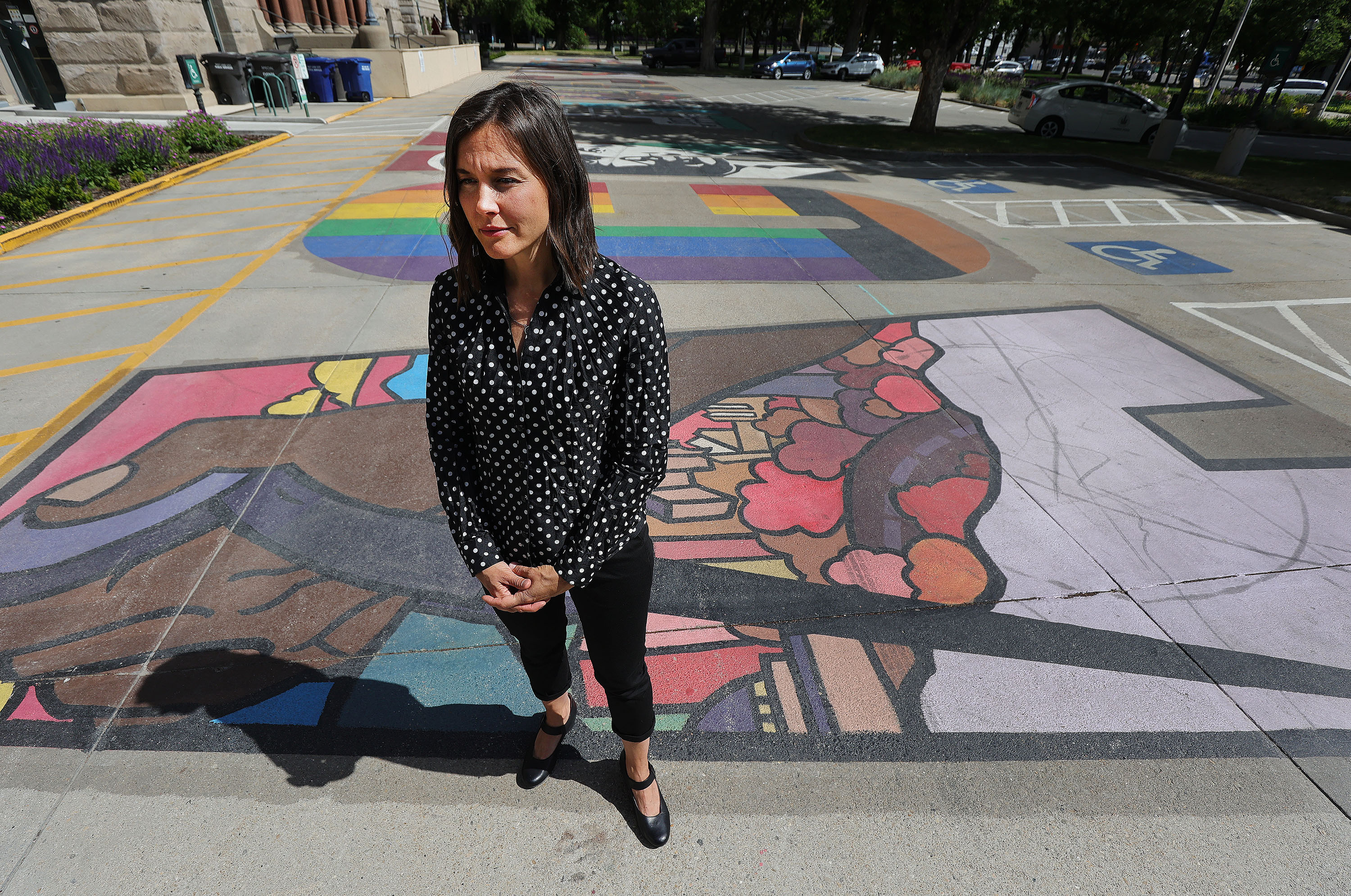 Salt Lake City Mayor Erin Mendenhall stands on the Black Lives Matter mural outside of theCity-County Building.