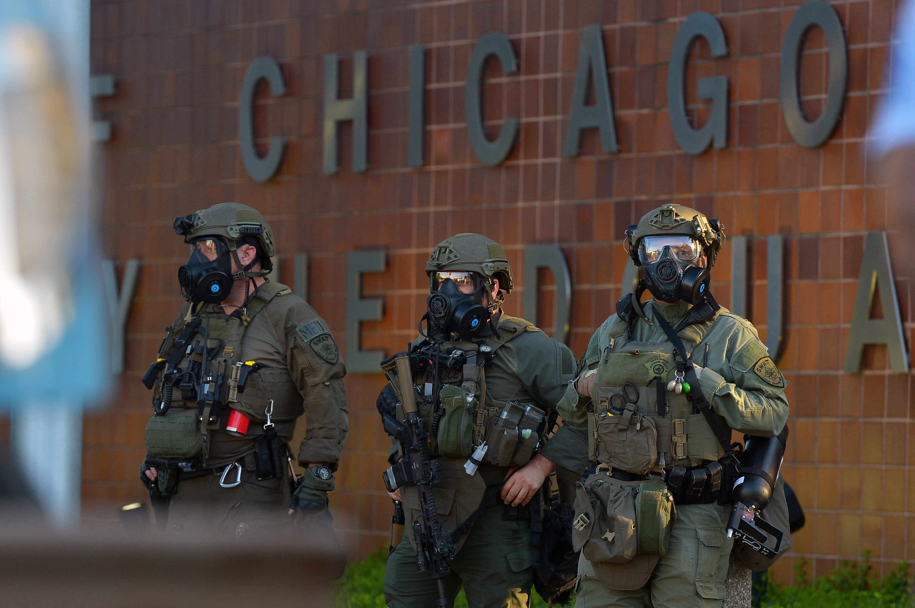 Members from Chicago Police SWAT Team outside of the Chicago Police Department headquarters, at 35th and Michigan during the George Floyd protests in May 2020.