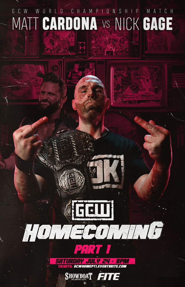 Poster for Nick Gage vs. Matt Cardona at GCW Homecoming