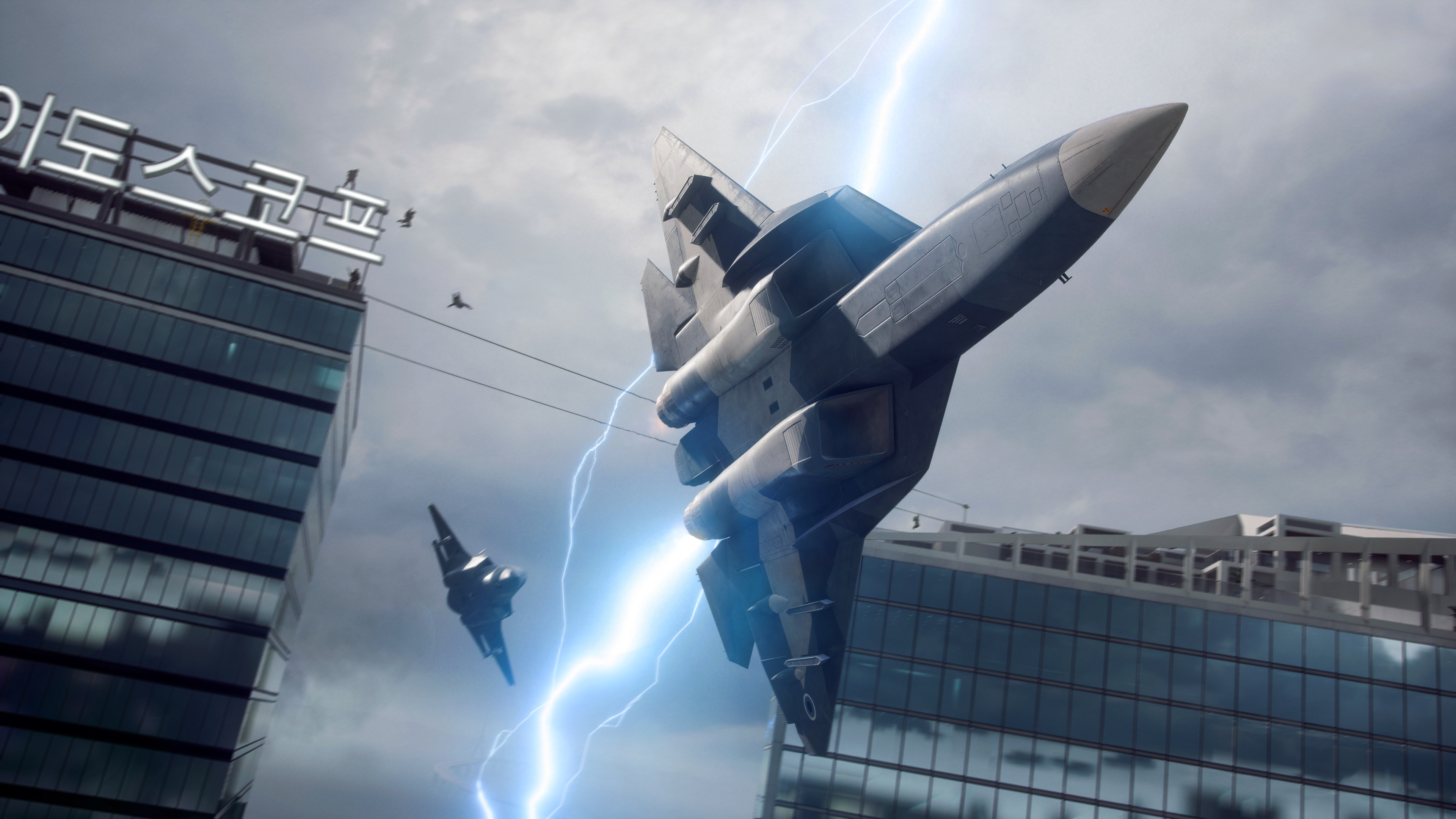 Fighter jets battle amid a lightning storm in Korea, in Battlefield 2042.