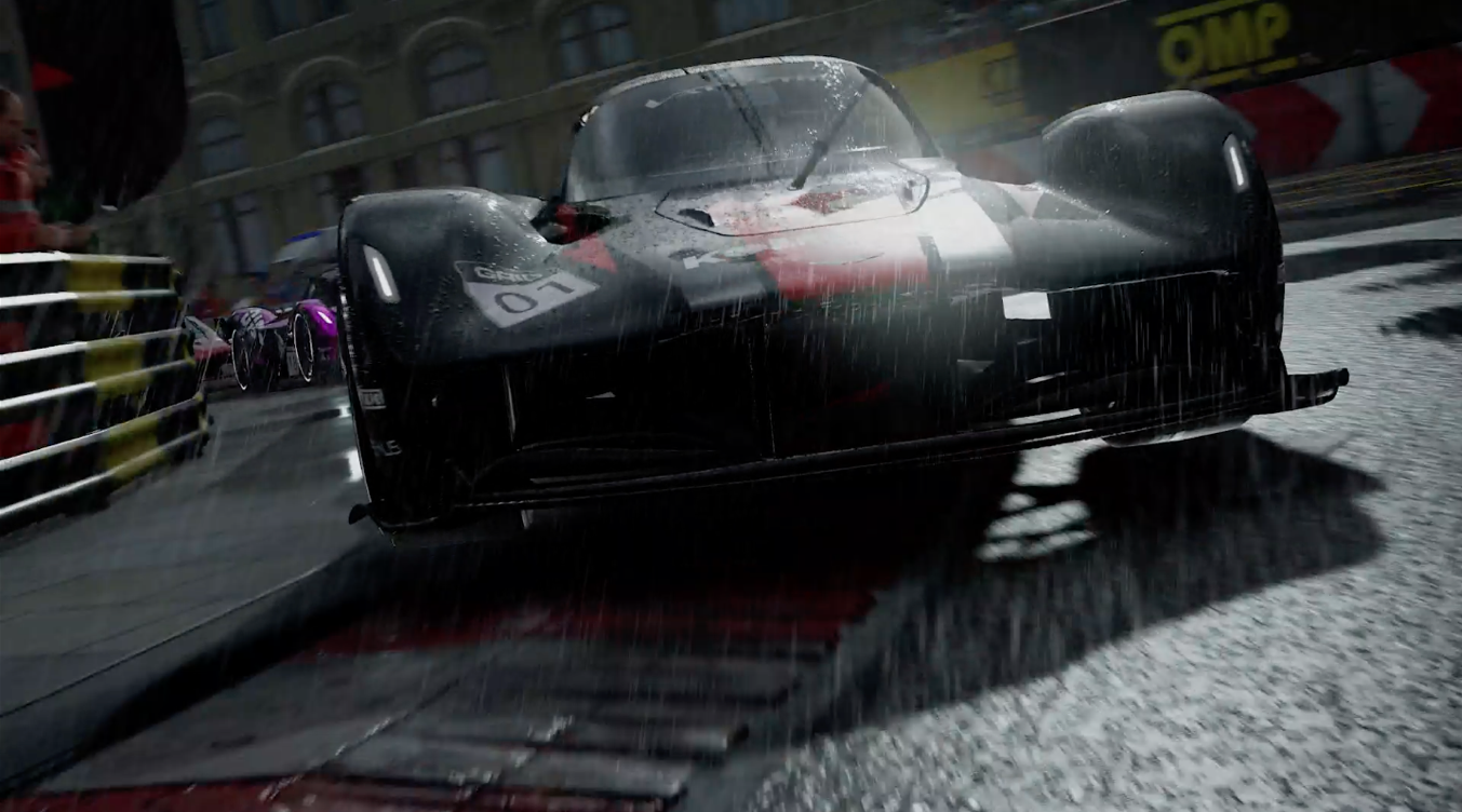 a hypercar with a racing stripe and windshield wipers on races into the foreground ahead of the pack