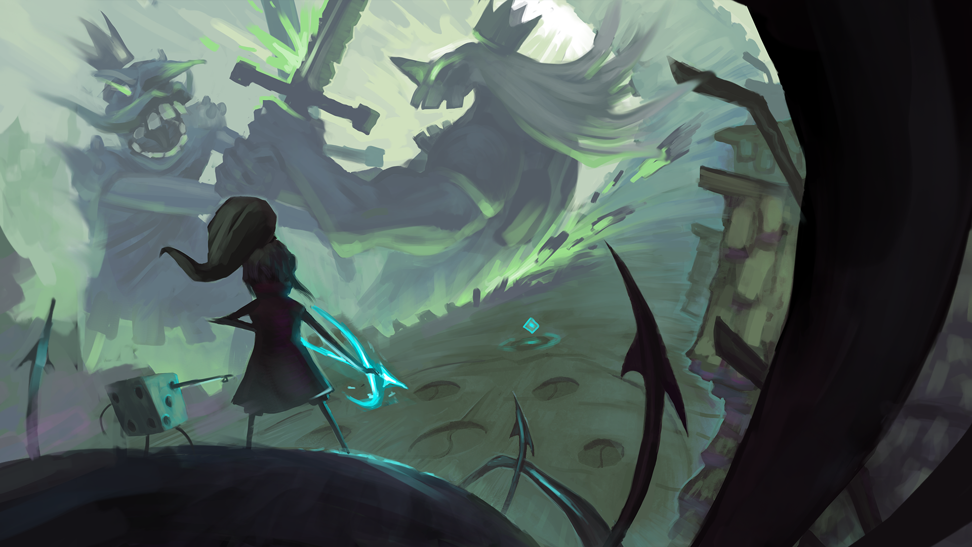 Concept art shows a young girl with a glowing bow and arrow in the foreground, with a large, sword-wielding spirit wearing a crown in the distance