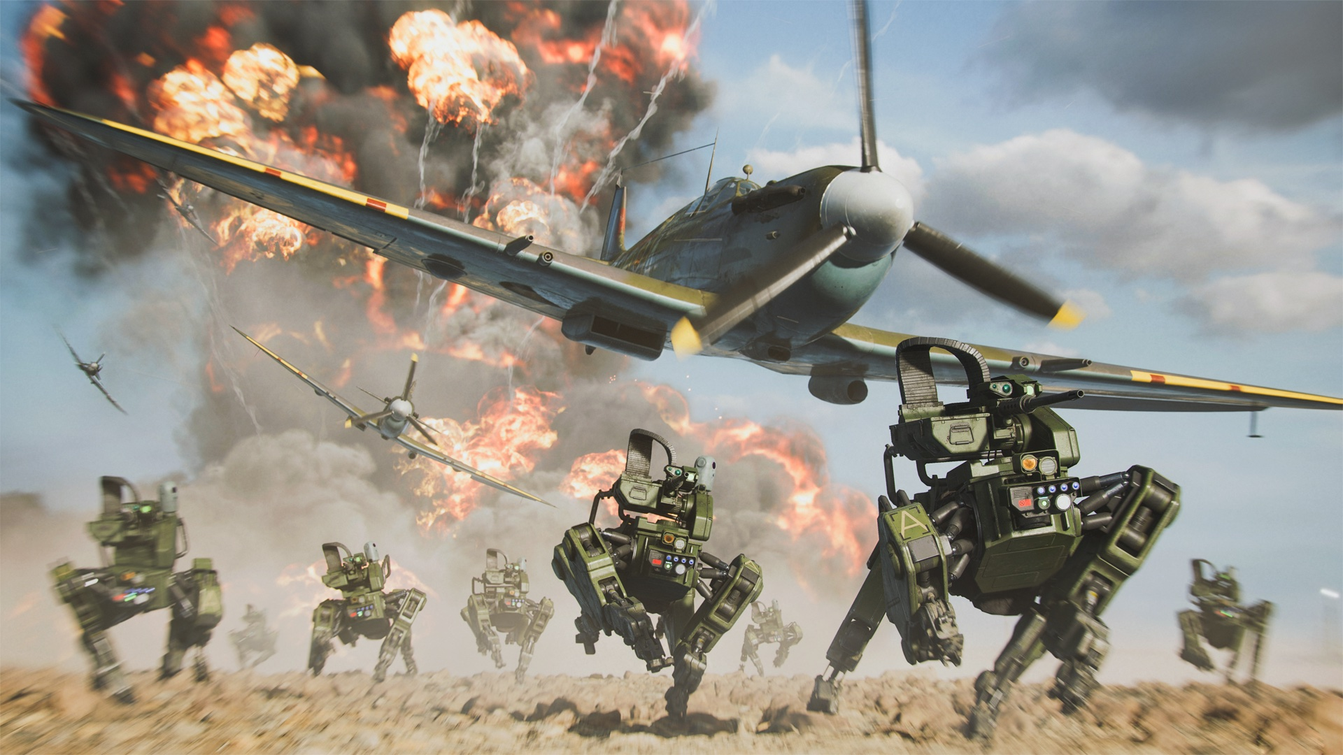 A WWII squadron bombs quadrupedal drones in a screenshot from Battlefield Portal