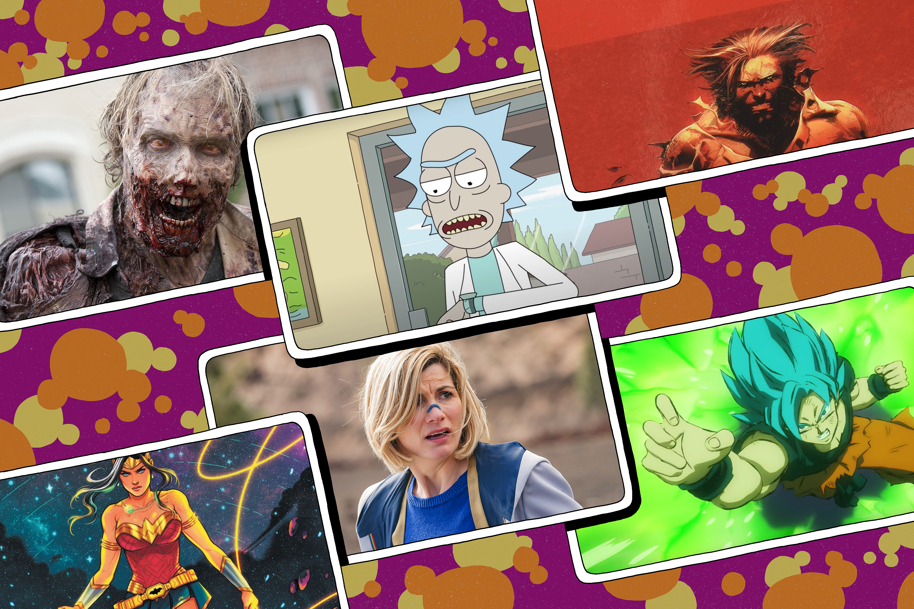 Illustrated grid featuring six images from various movies, tv shows, comics and anime