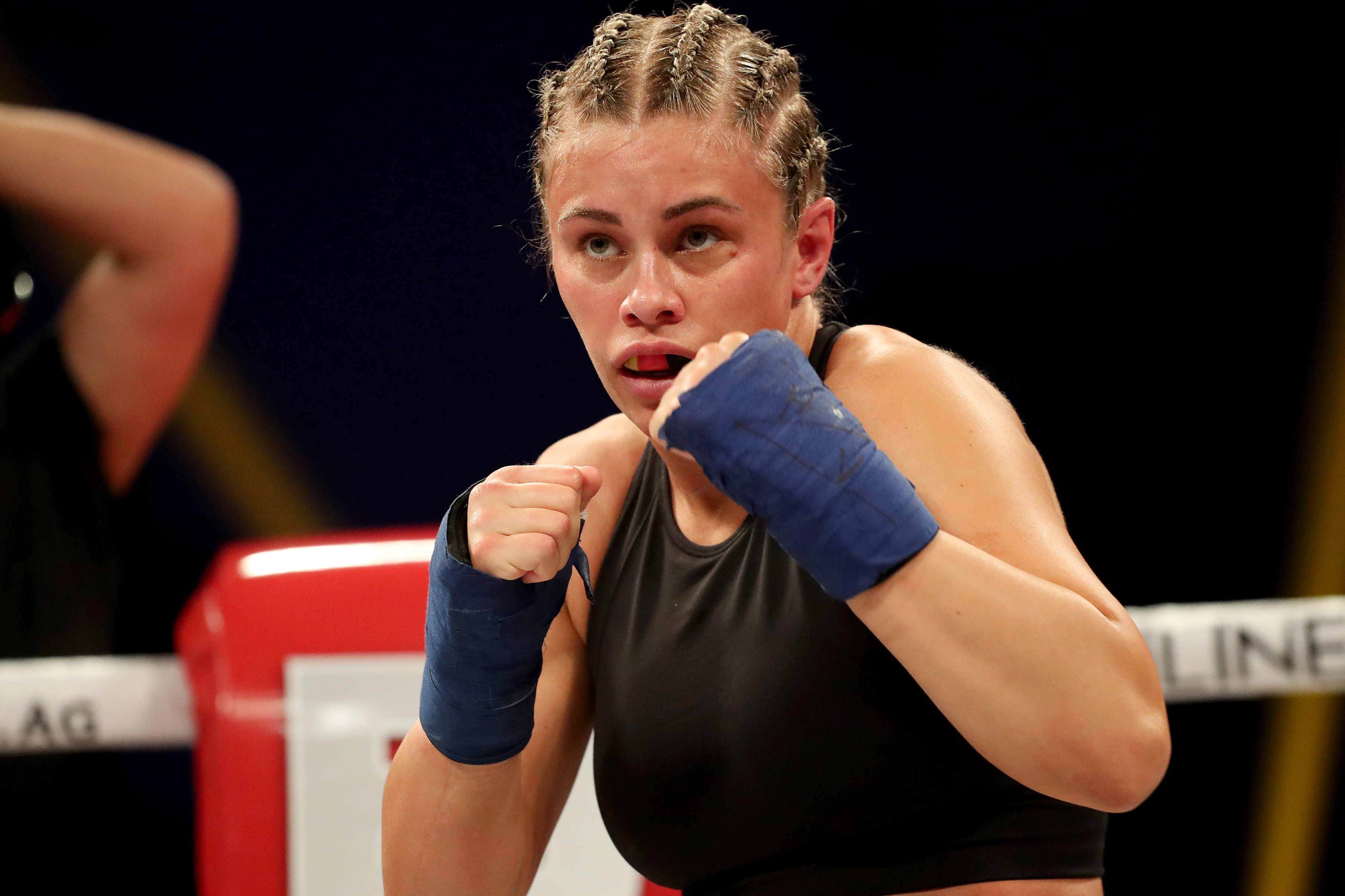 Paige VanZant during her fight with Britain Hart at BKFC: KnuckleMania earlier this year.