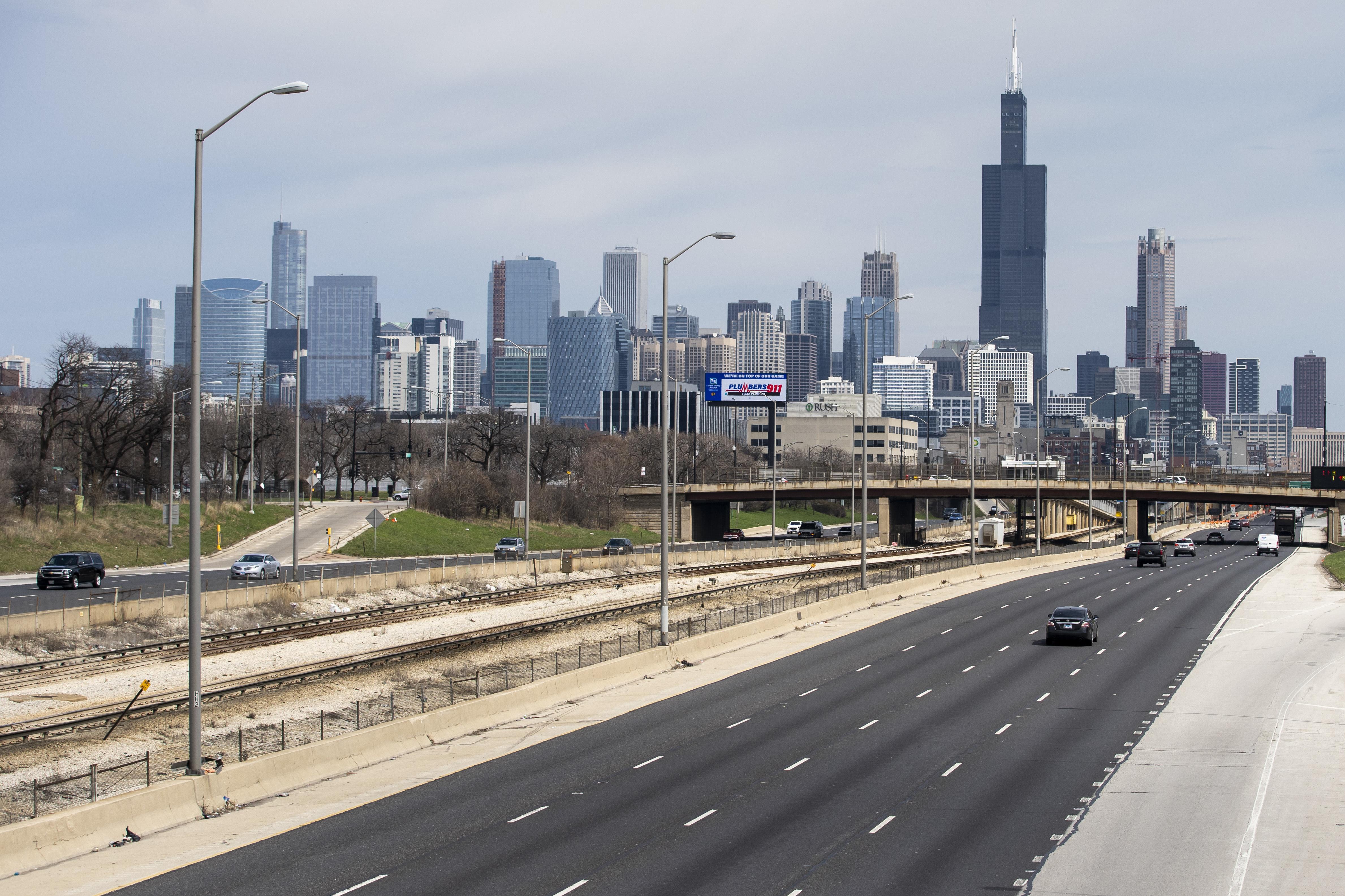 The Chicago skyline, viewed from the inbound Eisenhower Expressway.