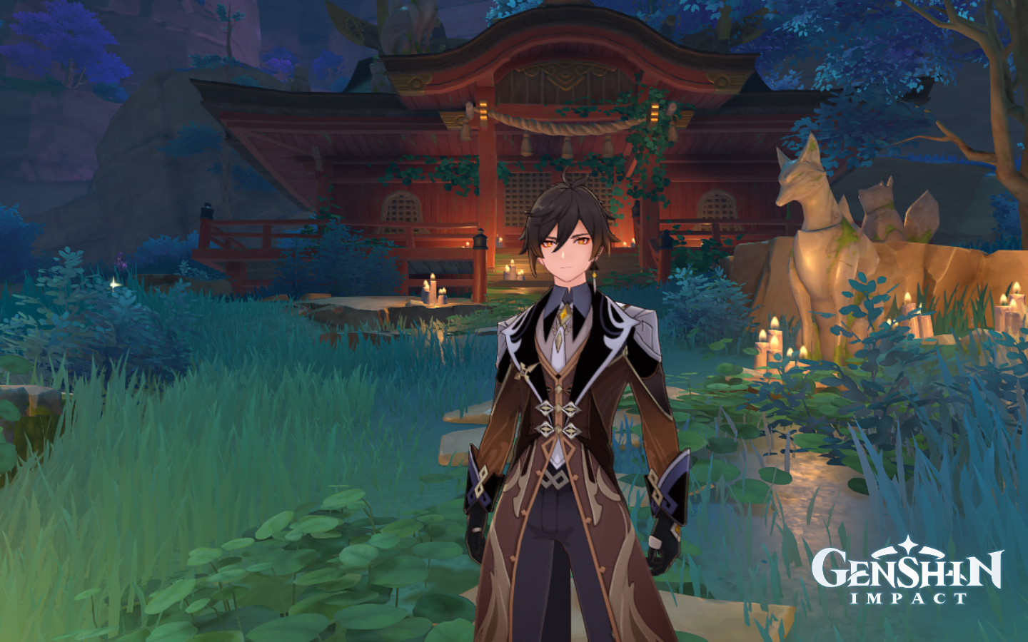 Zhongli stands in front of an abandoned shrine