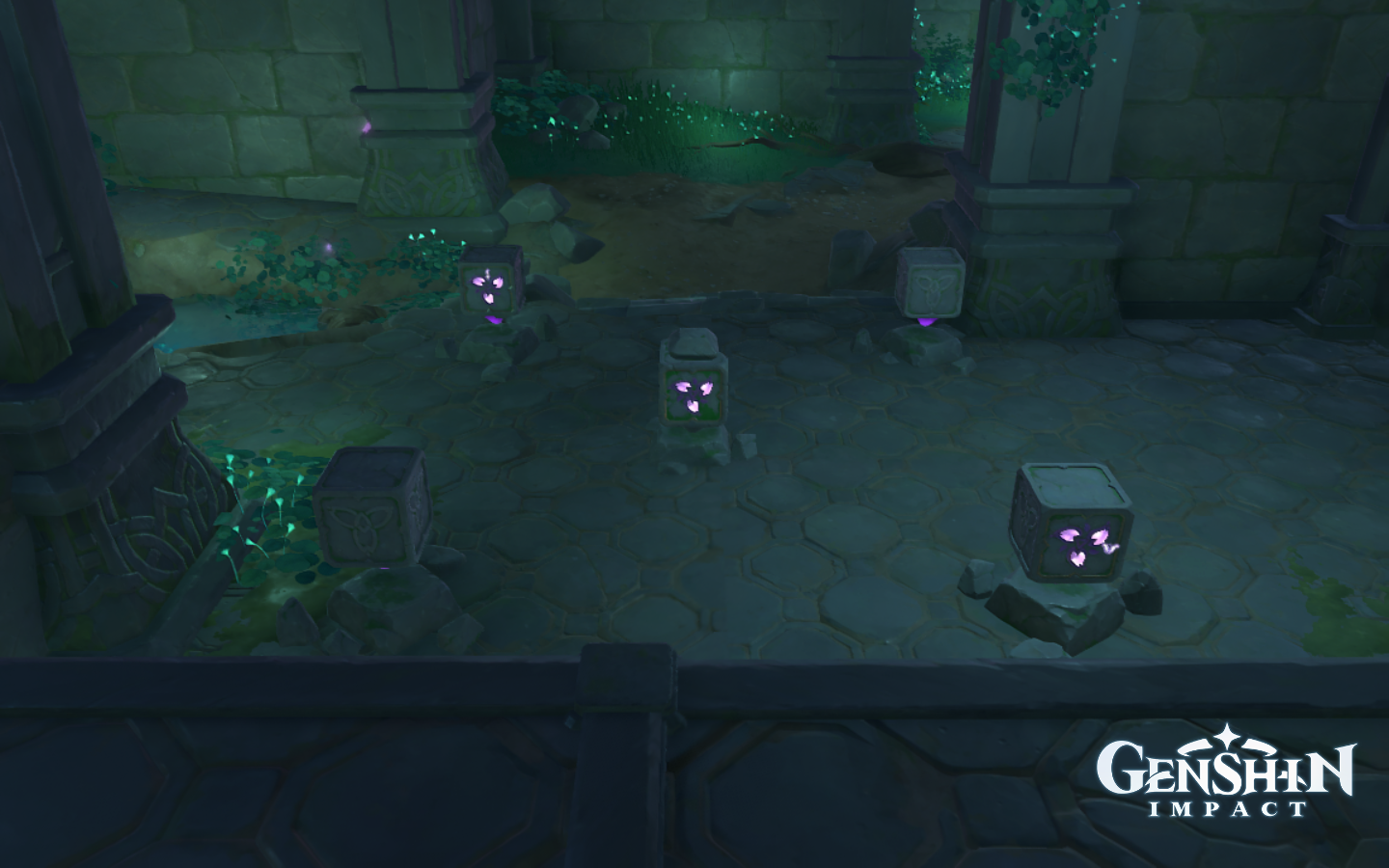 Some cubes with glowing symbols in Genshin Impact