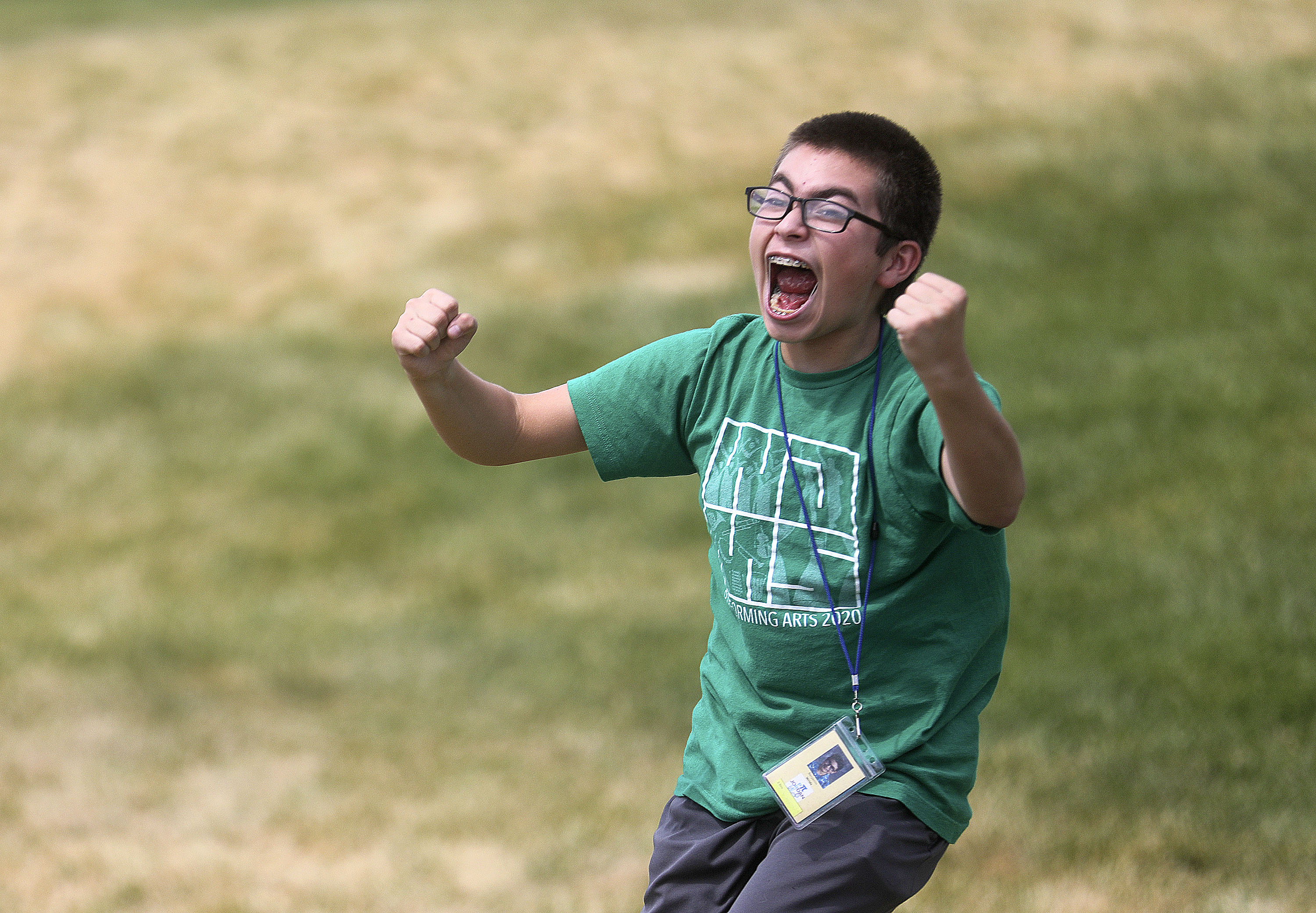Benjamin Wride cheers as his friend's homemade rocket launches fair distance as students in a Prefreshman Engineering Program test their creations outside of Joel P. Jensen Middle School in West Jordan on Thursday, July 22, 2021. The summer enrichment program aims to introduce students to careers in STEM-related fields.