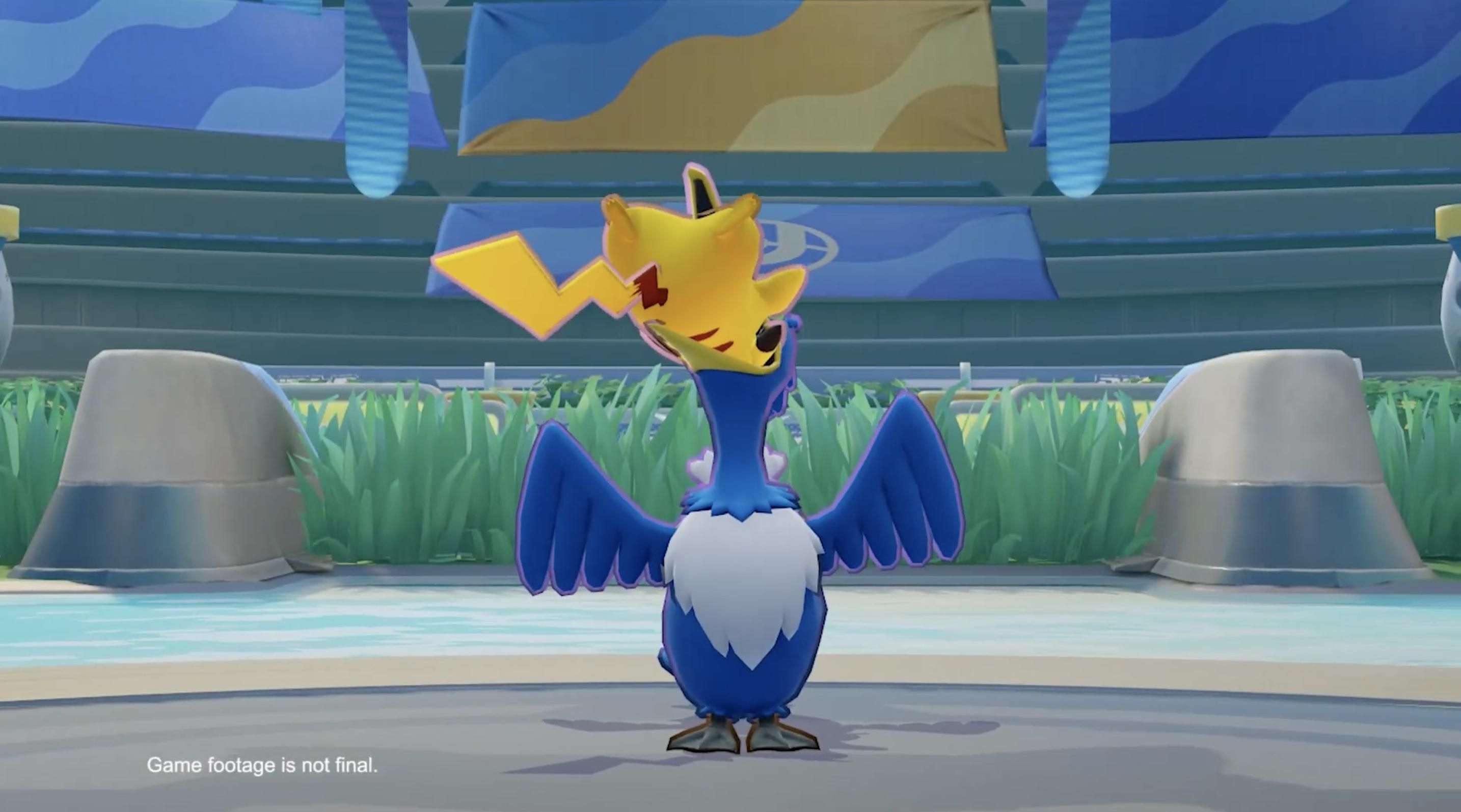a Cramorant swallows pikachu in pokemon unite