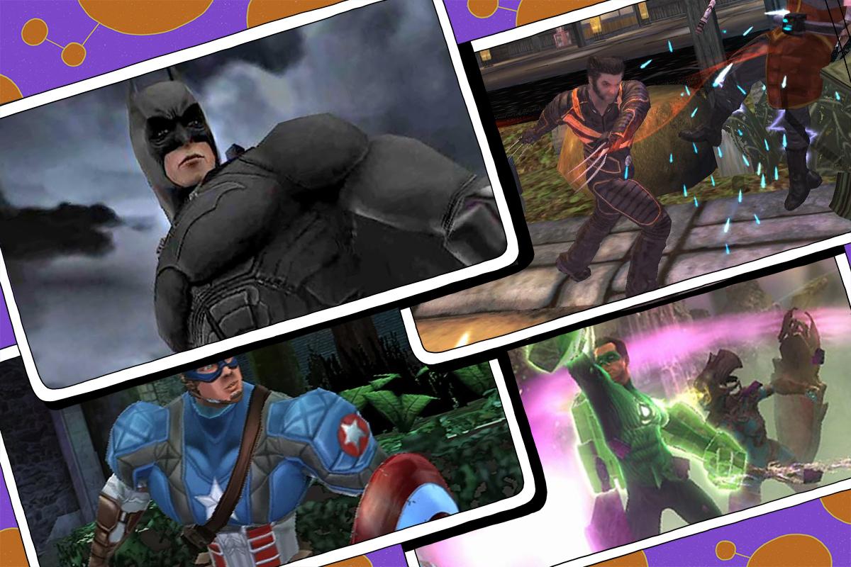 Comic book video games right to left: Batman Begins, X-Men, Green Lantern, Captain America