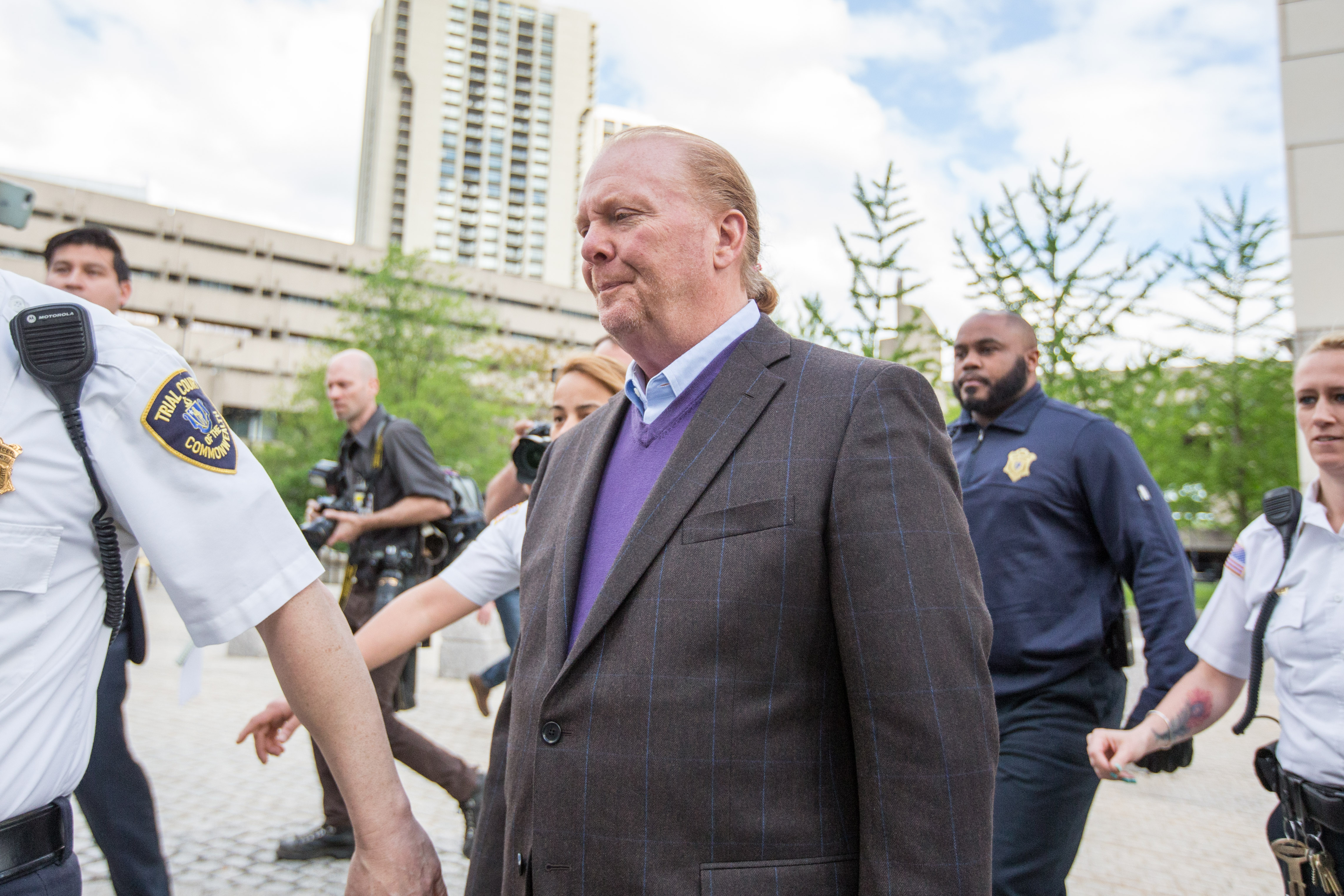 Celebrity chef Mario Batali leaves Boston Municipal Court following an arraingment on a charge of indecent assault and battery in connection with a 2017 incident at a Back Bay restaurant on May 24, 2019 in Boston, Massachusetts.