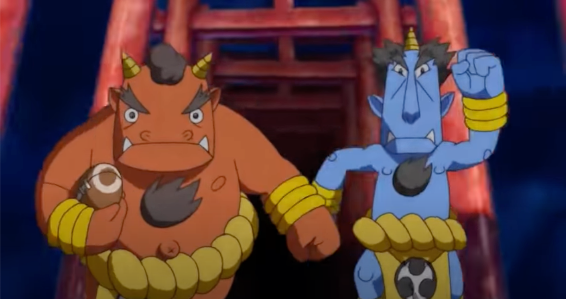 the  formidable oni are your opponents in Doodle Champion Island's rugby minigame