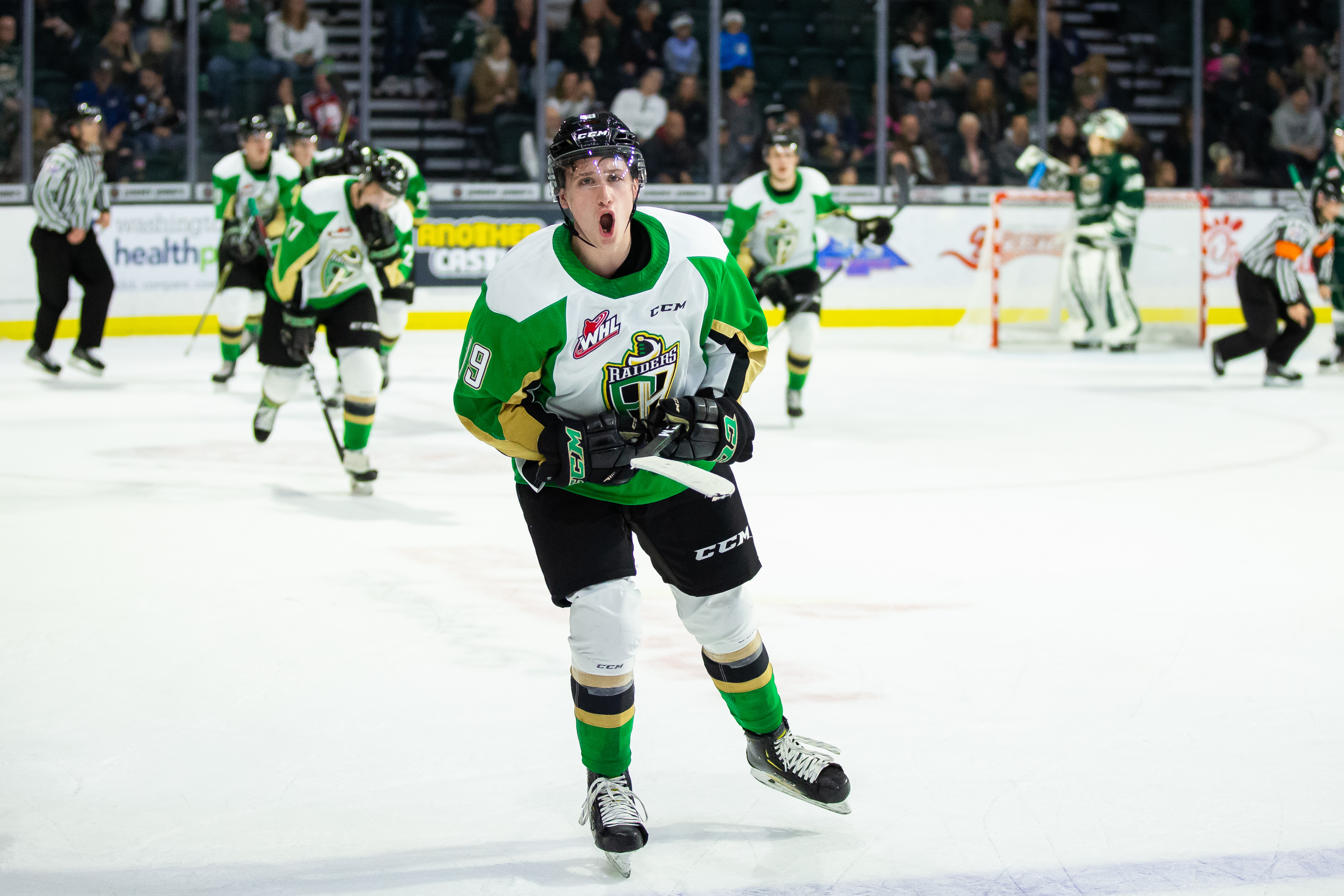 Ozzy Wiesblatt #19 of the Prince Albert Raiders celebrates scoring a goal in the closing seconds of the third period to tie the game against the Everett Silvertips at Angel of the Winds Arena on October 19, 2019 in Everett, Washington.