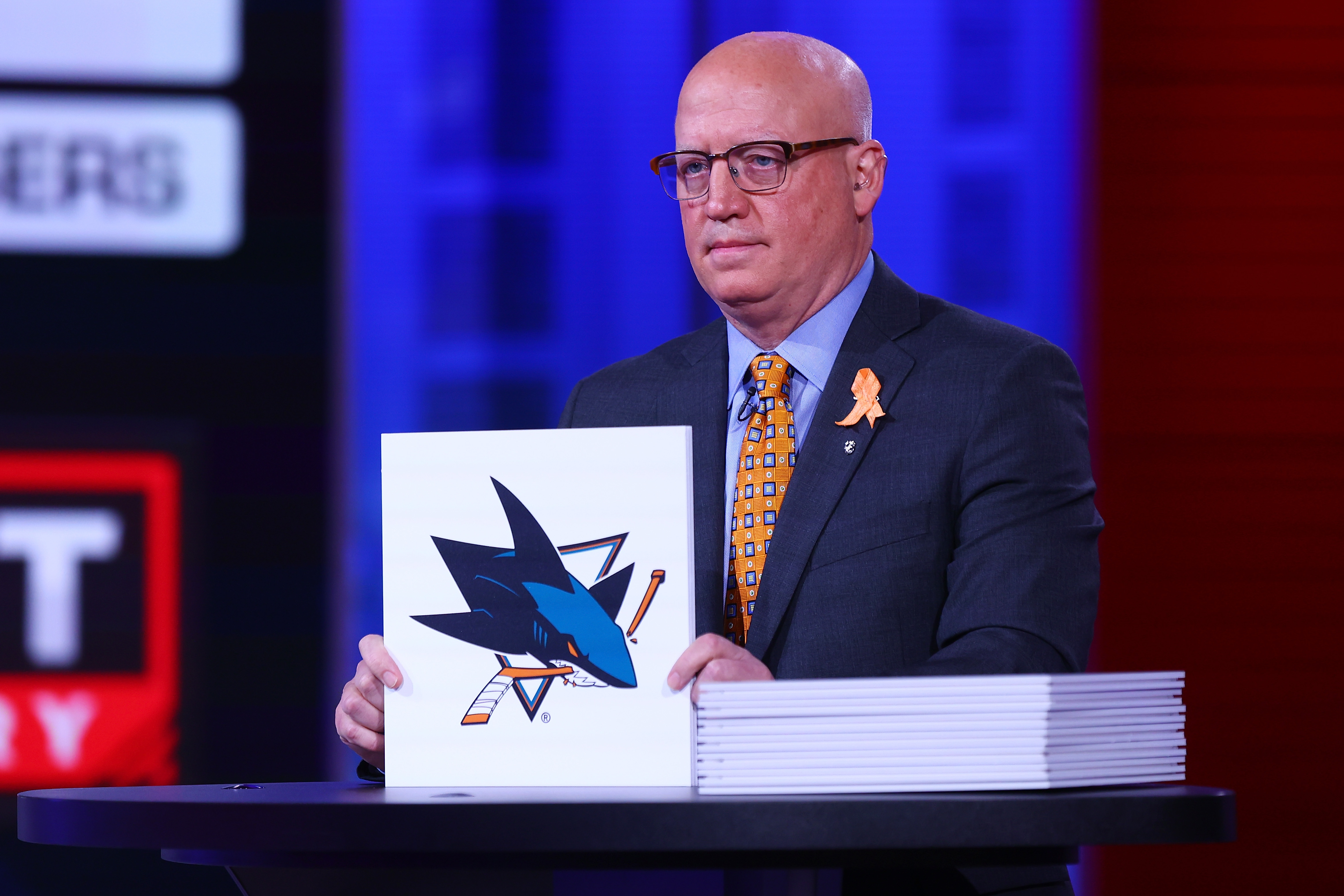 National Hockey League Deputy Commissioner Bill Daly announces an San Jose Sharks draft position during the 2021 NHL Draft Lottery on June 02, 2021 at the NHL Network's studio in Secaucus, New Jersey.
