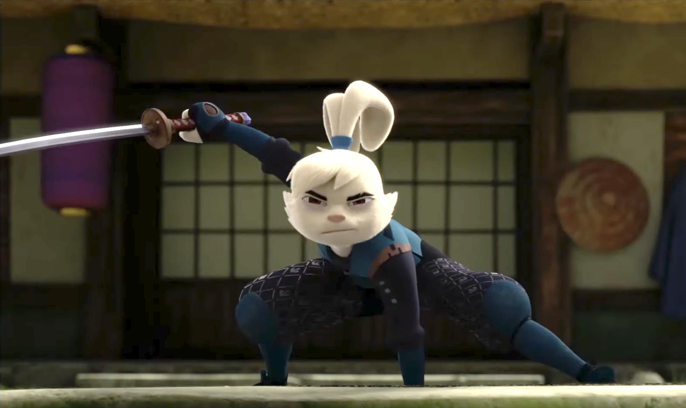 Yuichi Usagi, an anthropomorphic rabbit samurai, the hero of Samurai Rabbit: The Usagi Chronicles.