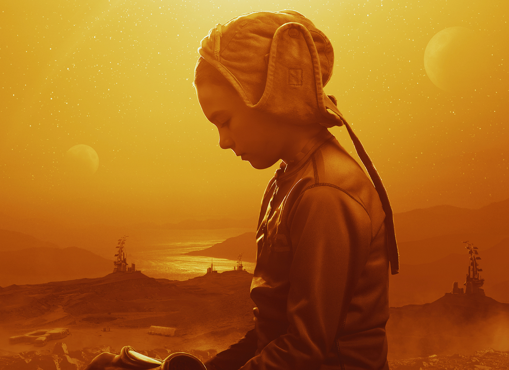 A young girl (Brooklynn Prince) in a bonnet sits in a bright yellow desert in the poster image for Settlers