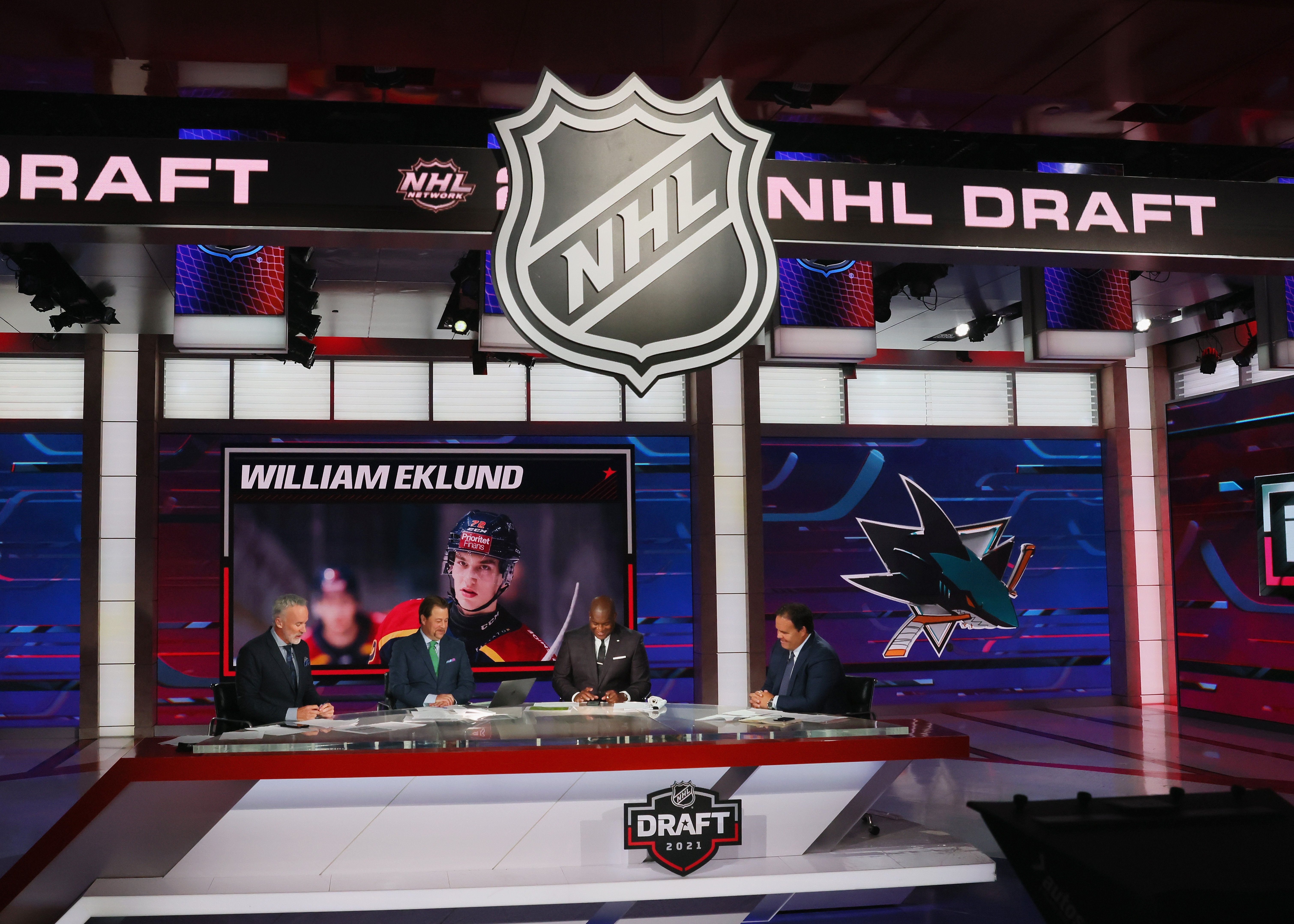 With the seventh pick in the 2021 NHL Entry Draft, the San Jose Sharks select William Eklund during the first round of the 2021 NHL Entry Draft at the NHL Network studios on July 23, 2021 in Secaucus, New Jersey.
