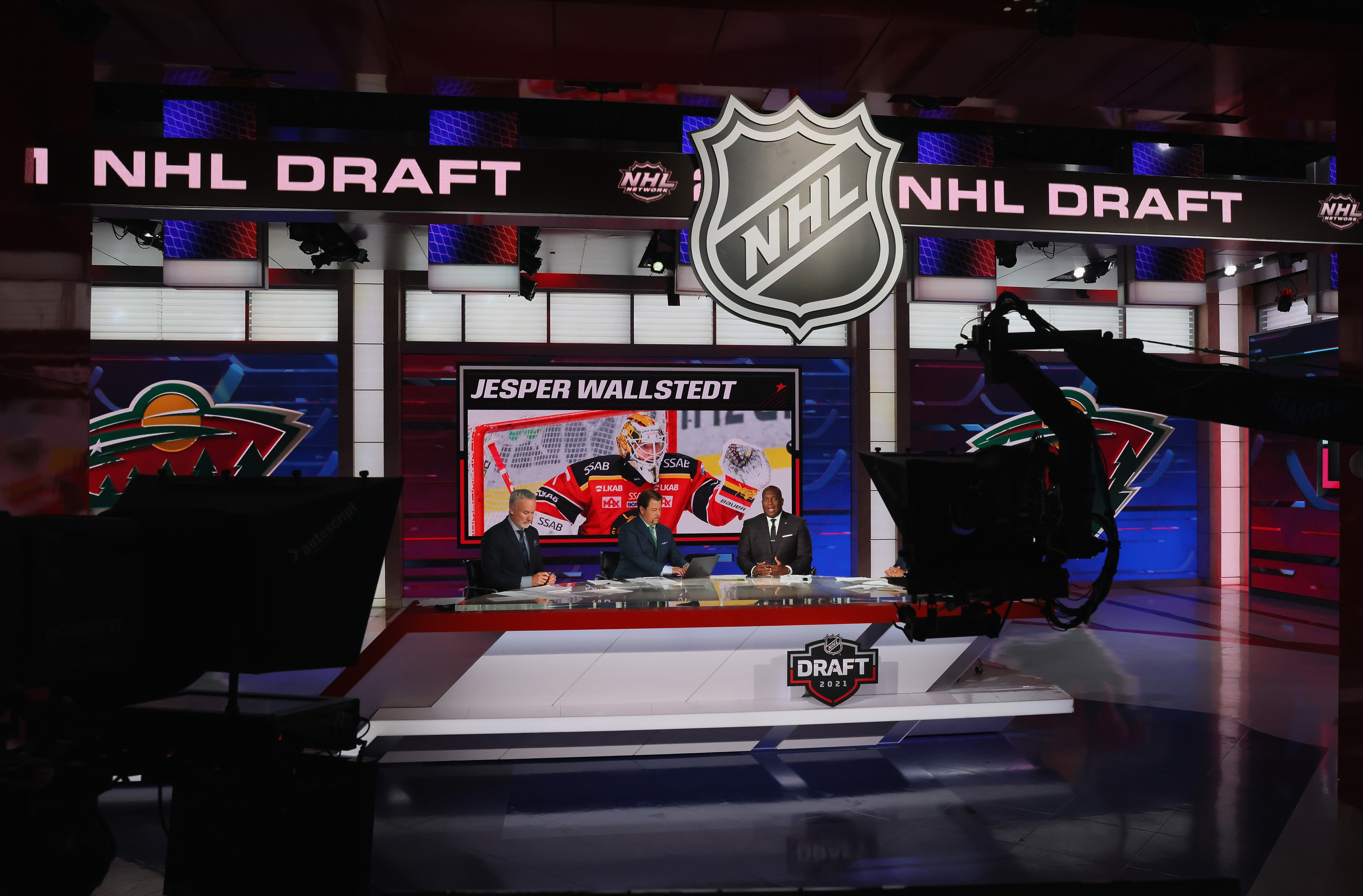 With the 20th pick in the 2021 NHL Entry Draft, the Minnesota Wild select Jesper Wallstedt during the first round of the 2021 NHL Entry Draft at the NHL Network studios on July 23, 2021 in Secaucus, New Jersey.