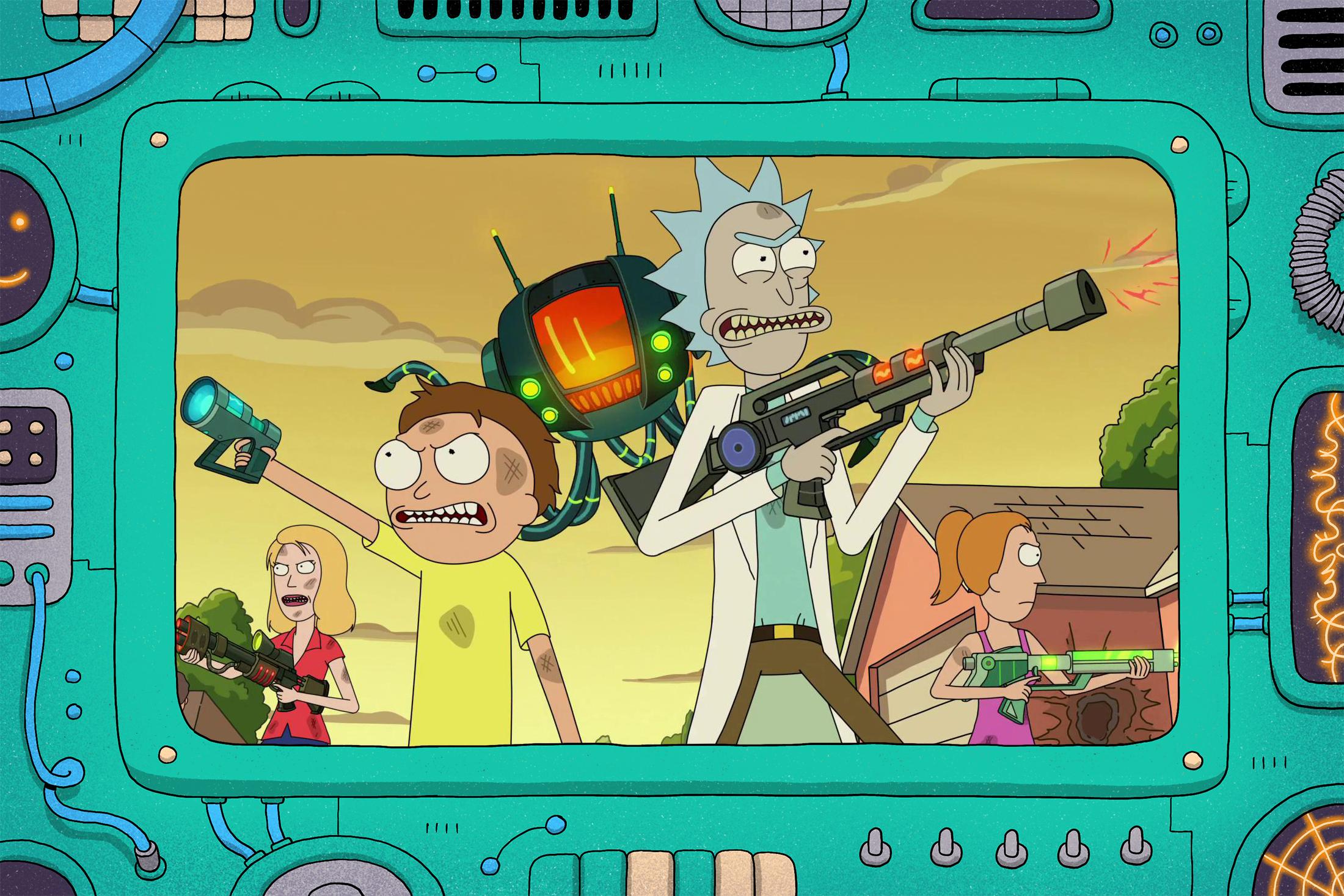 rick and morty firing guns in season 5