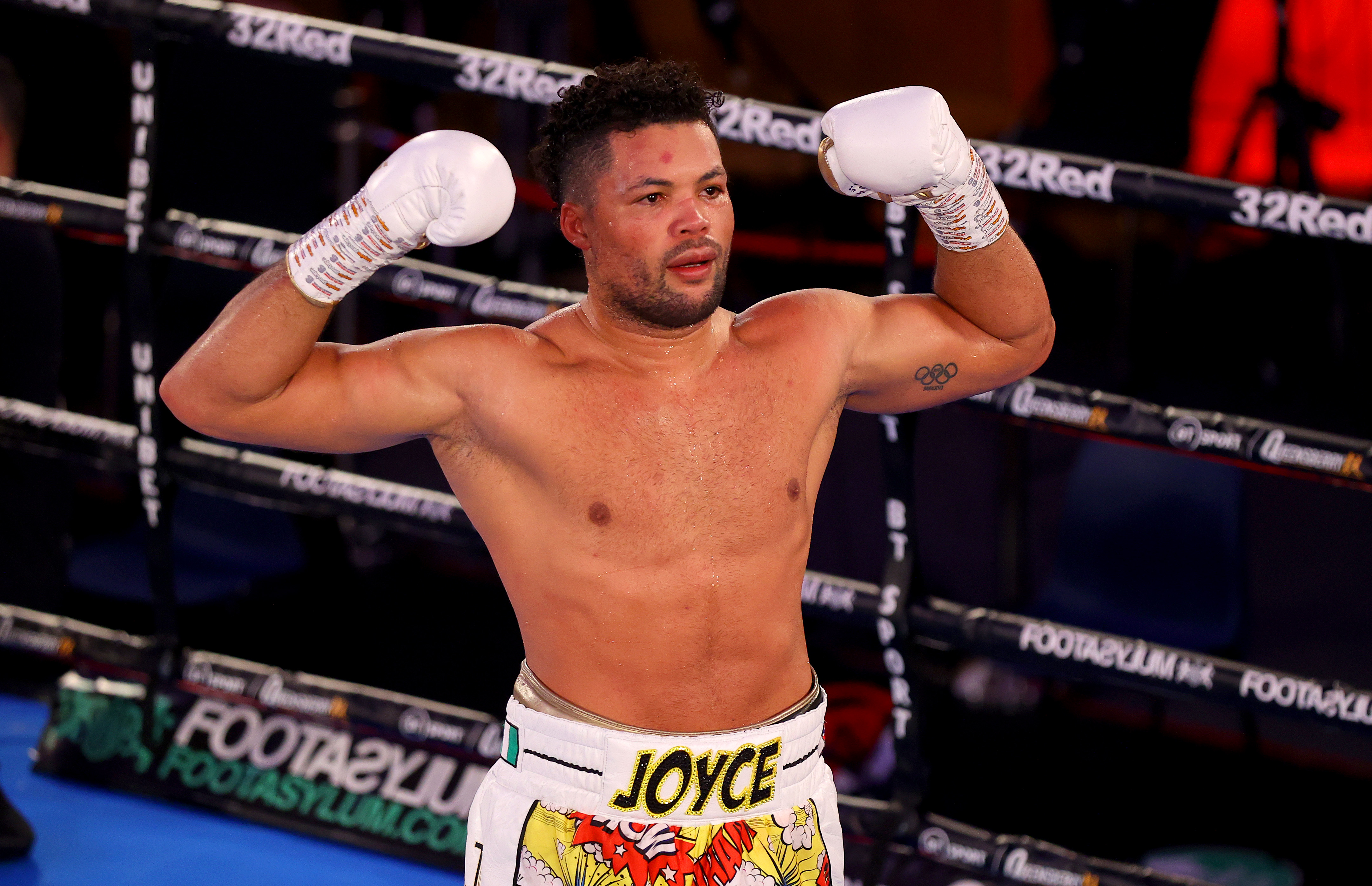 Joe Joyce celebrates victory over Daniel Dubois (not pictured) after the WBC Silver heavyweight title, British, Commonwealth and European Heavyweight title fight between Daniel Dubois and Joe Joyce at The Church House on November 28, 2020 in London, England.