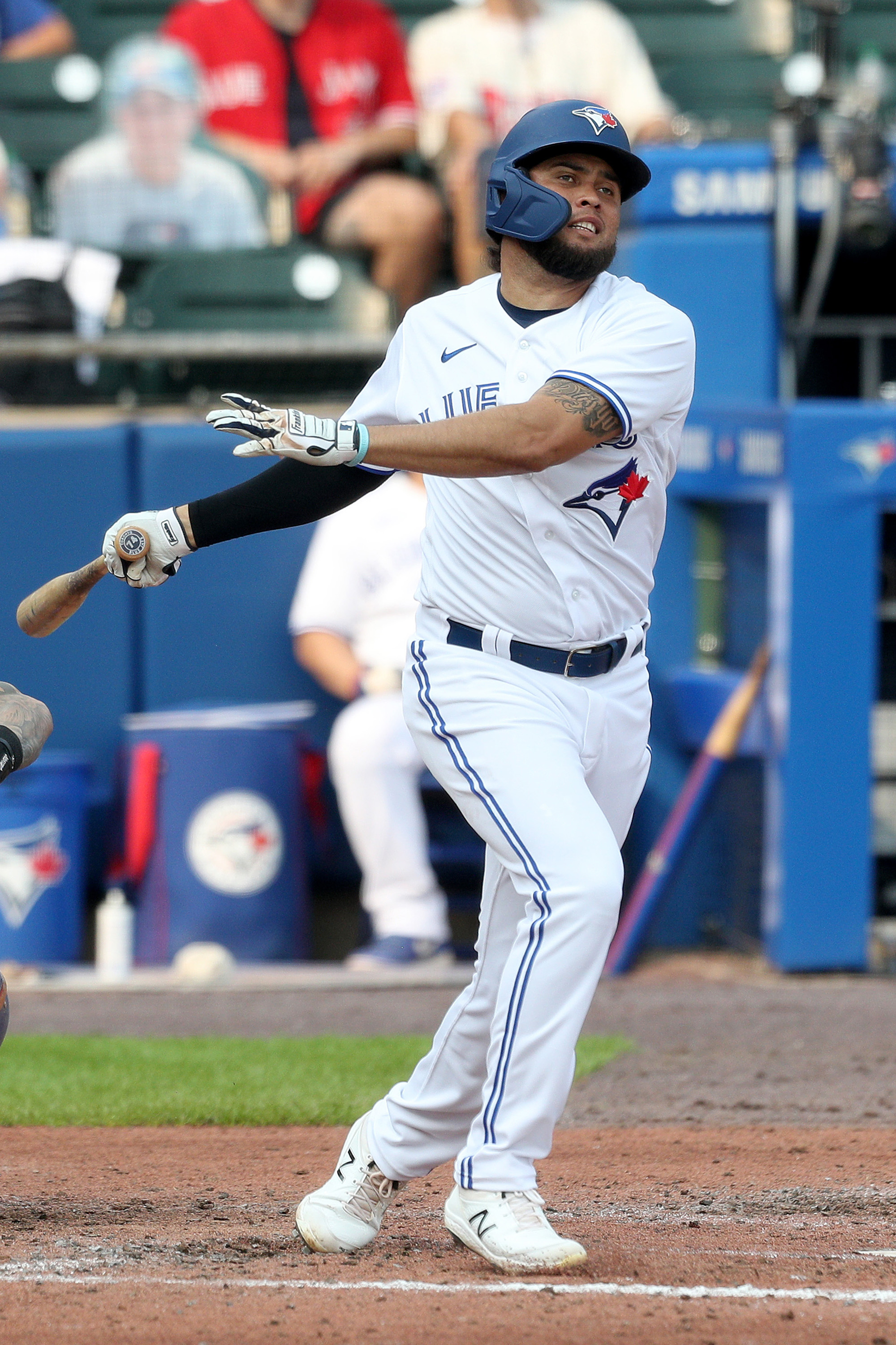 Breyvic Valera #74 of the Toronto Blue Jays reacts after striking out during the sixth inning in game two of a doubleheader against the Texas Rangers at Sahlen Field on July 18, 2021 in Buffalo, New York.