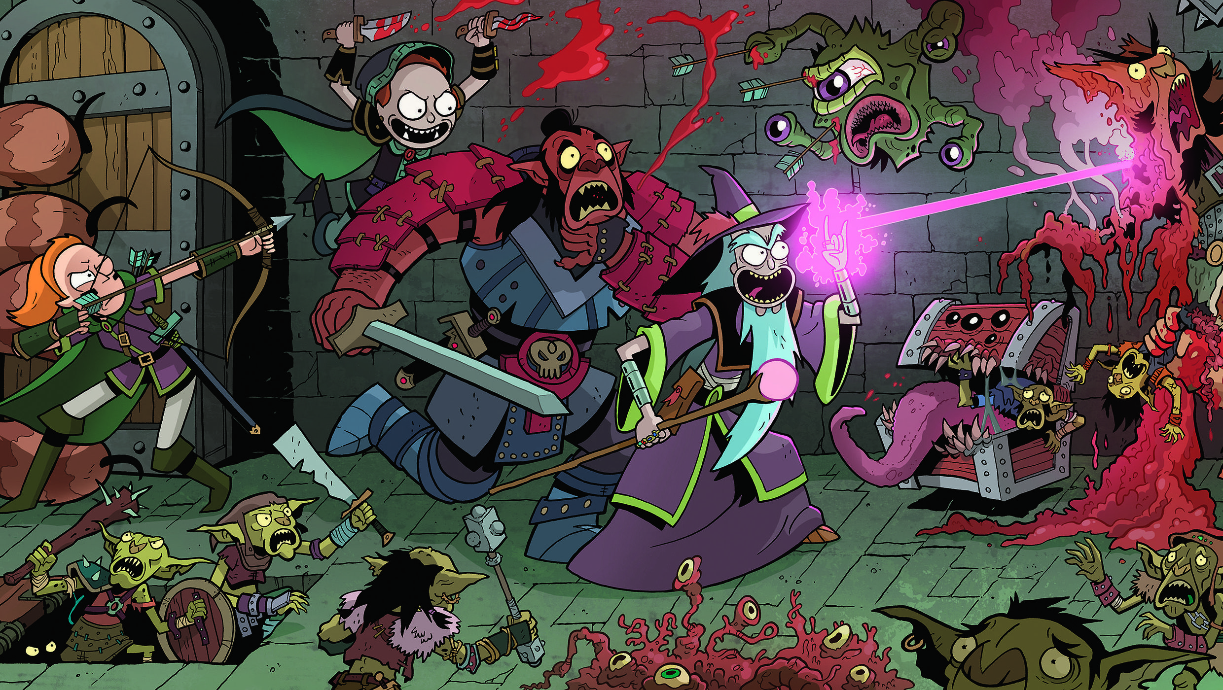 Artwork of Rick and Morty battling monsters from the Rick & Morty Dungeons & Dragons RPG
