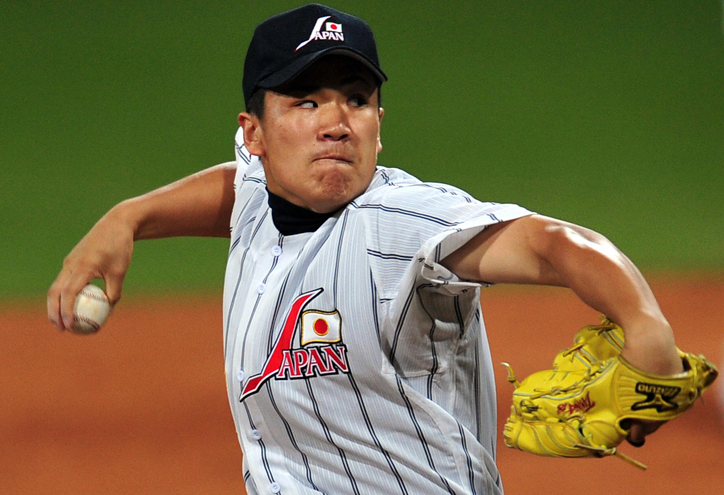 Japan's relief pitcher Masahiro Tanaka w