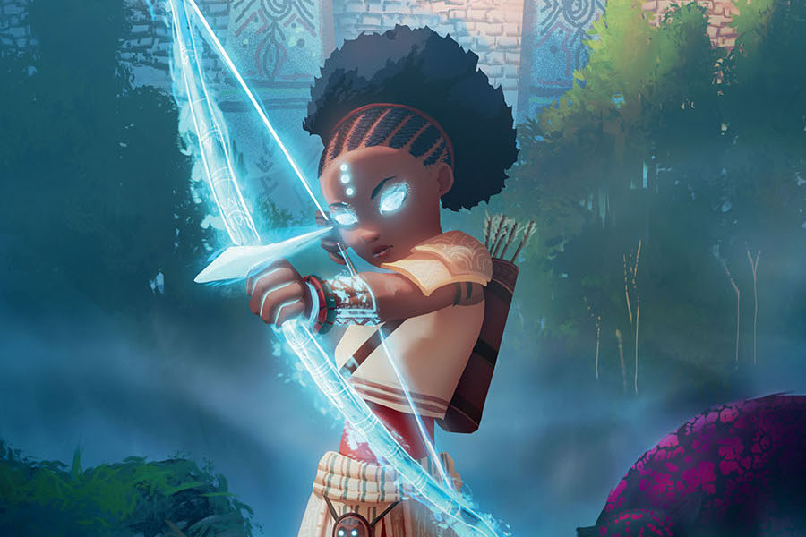 Iyanu, the main character of Iyanu: Child of Wonder, brandishes a glowing bow and arrow. Her hair is braided into a poof.