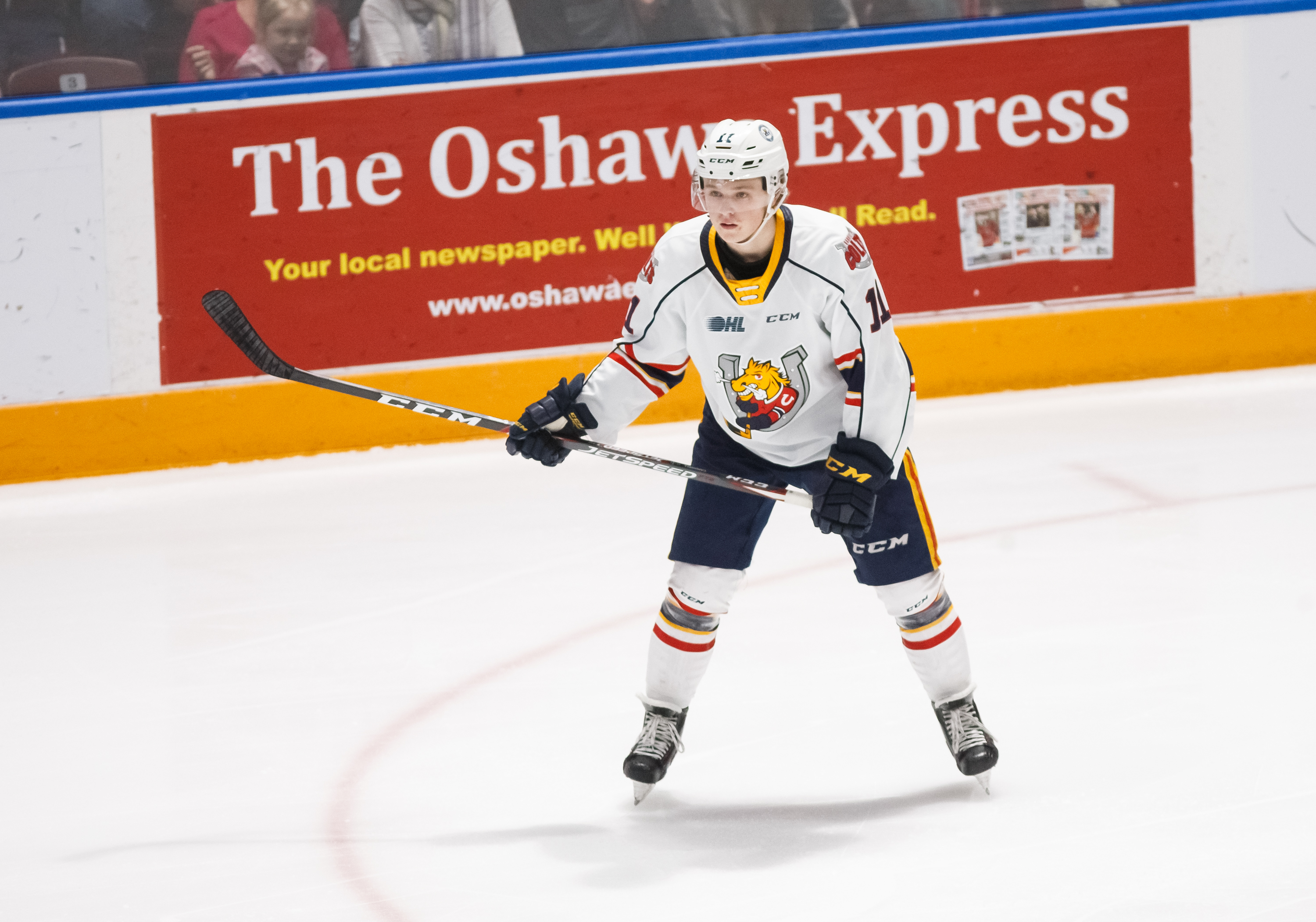 Ethan Cardwell #11 of the Barrie Colts looks on during an OHL game against the Oshawa Generals at the Tribute Communities Centre on January 26, 2020 in Oshawa, Ontario, Canada.