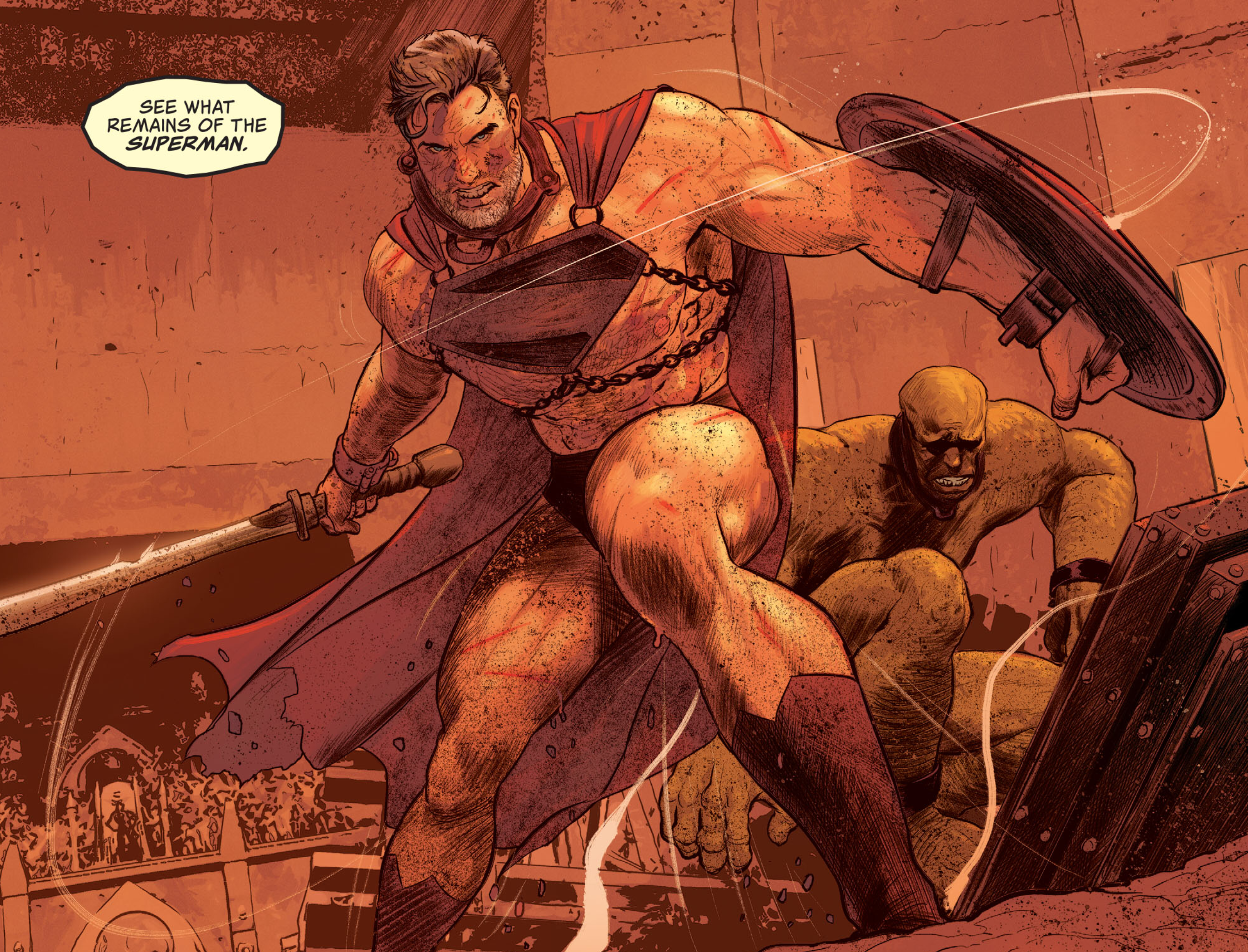 """A grey-haired and bloodied Superman springs out of a gladiator cage on War World, dressed only in his cape, underwear, boots, and a Superman symbol chained to his chest. He brandishes a sword and shield as the announcer cries """"See what remains of the Superman,"""" in Future State: Superman Worlds of War #1, DC Comics (2021)."""